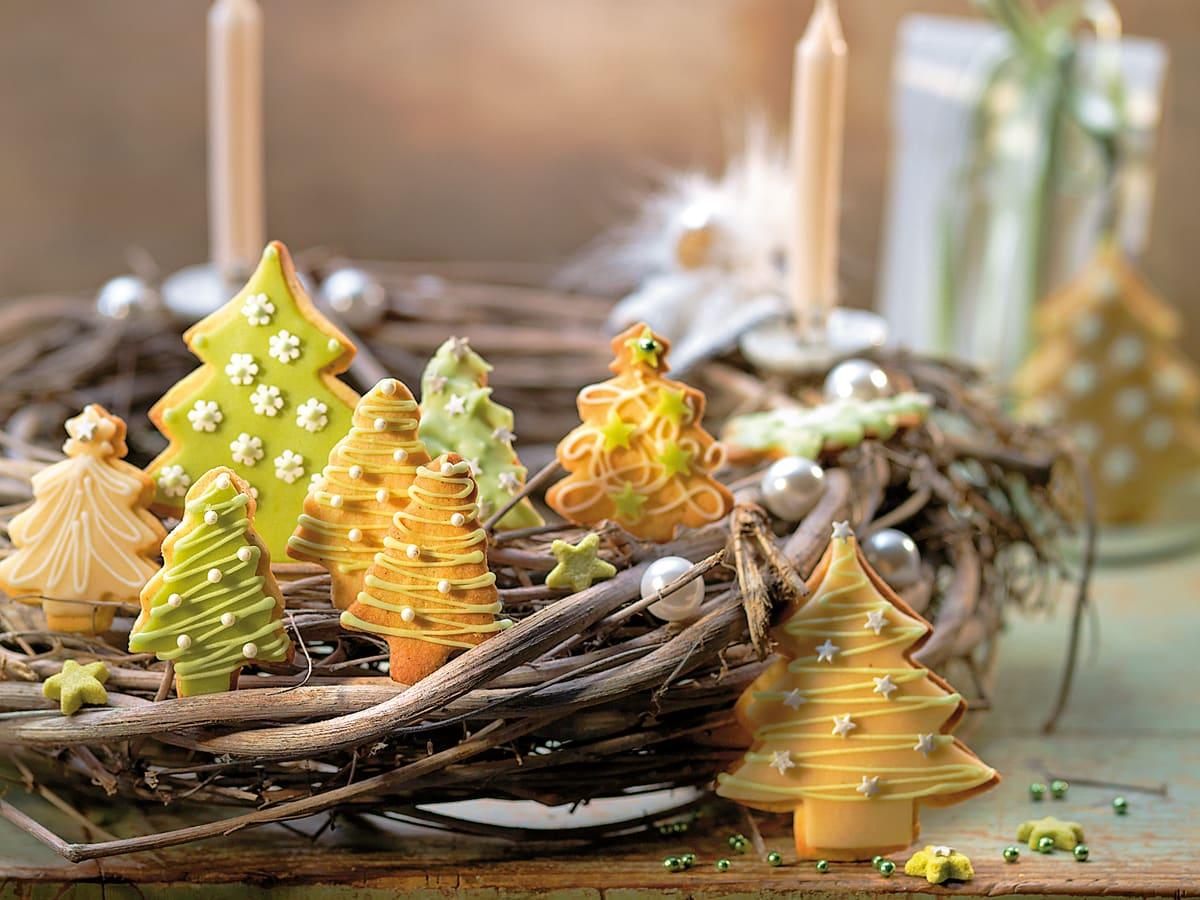 Biscuits fourrés sapins de Noël
