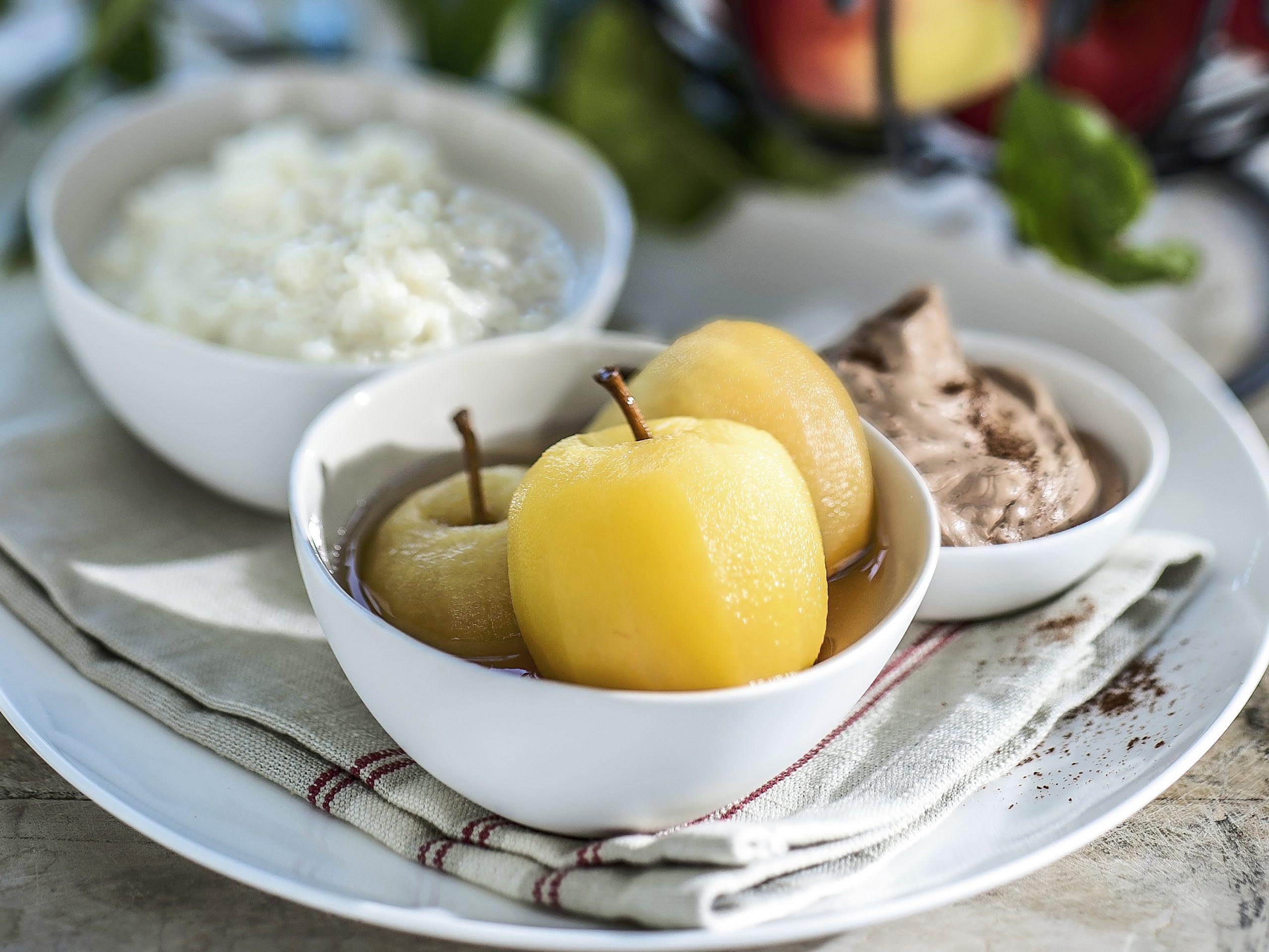Gekochte Äpfel mit Ovo-Milchreis