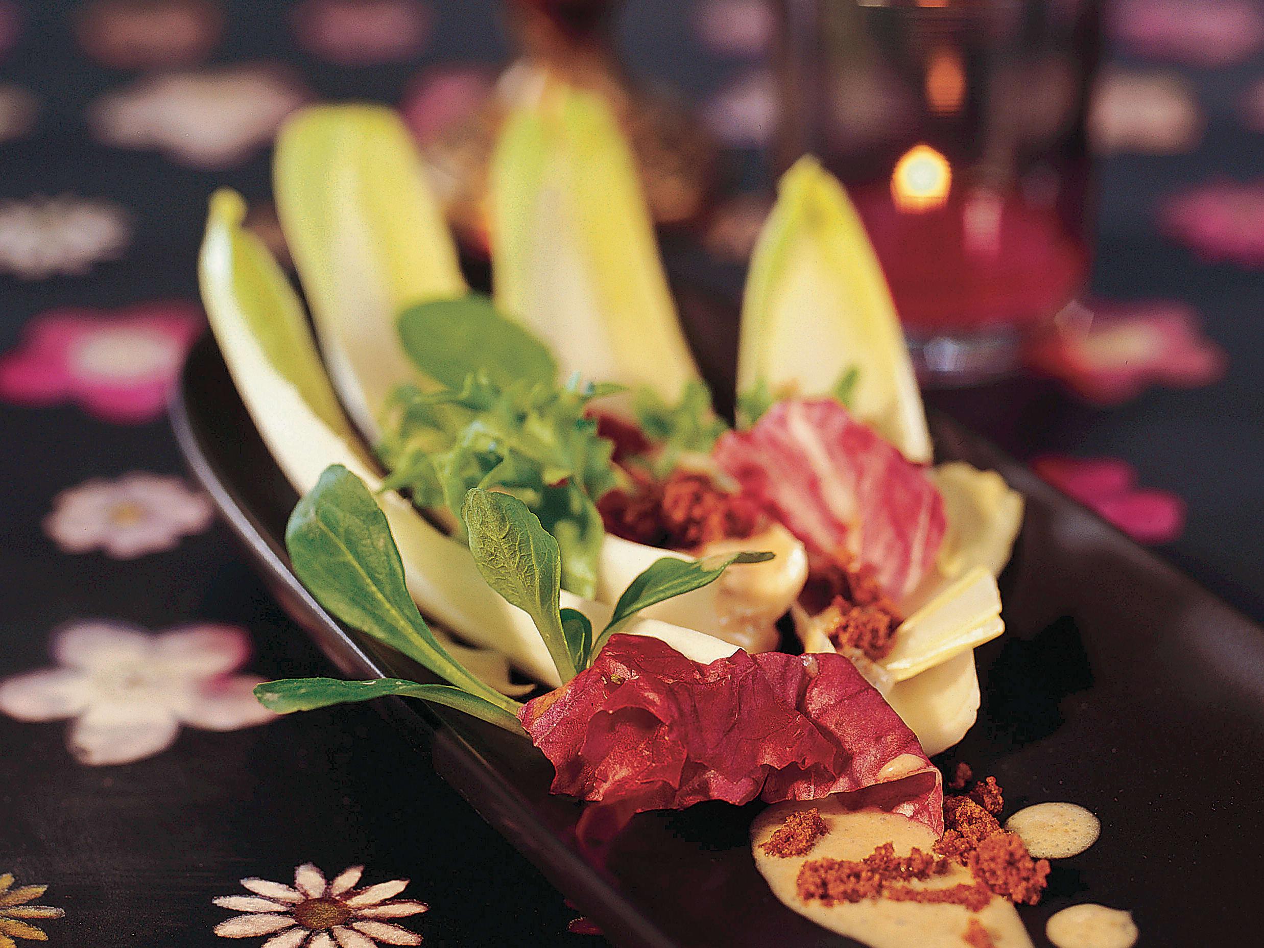 Salade verte mêlée sauce pain d'épice