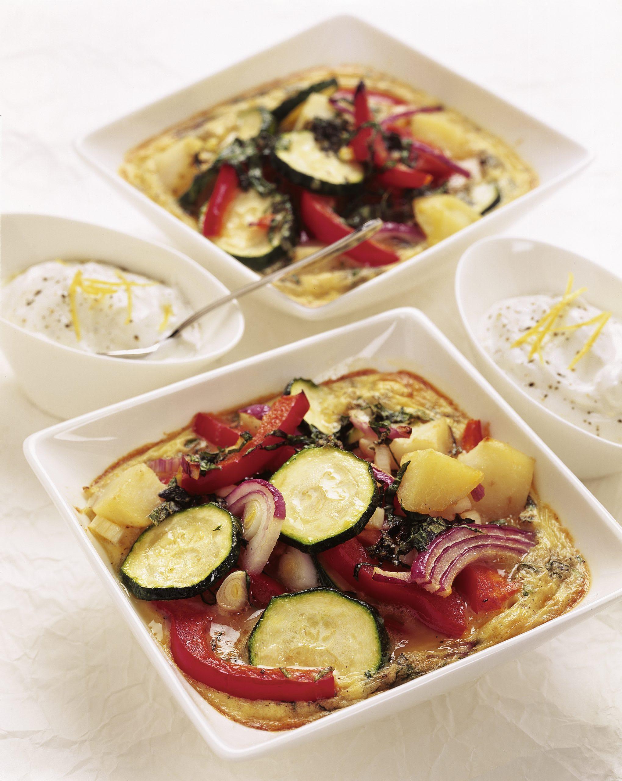 Gemüse-Kartoffel-Tortilla aus dem Ofen