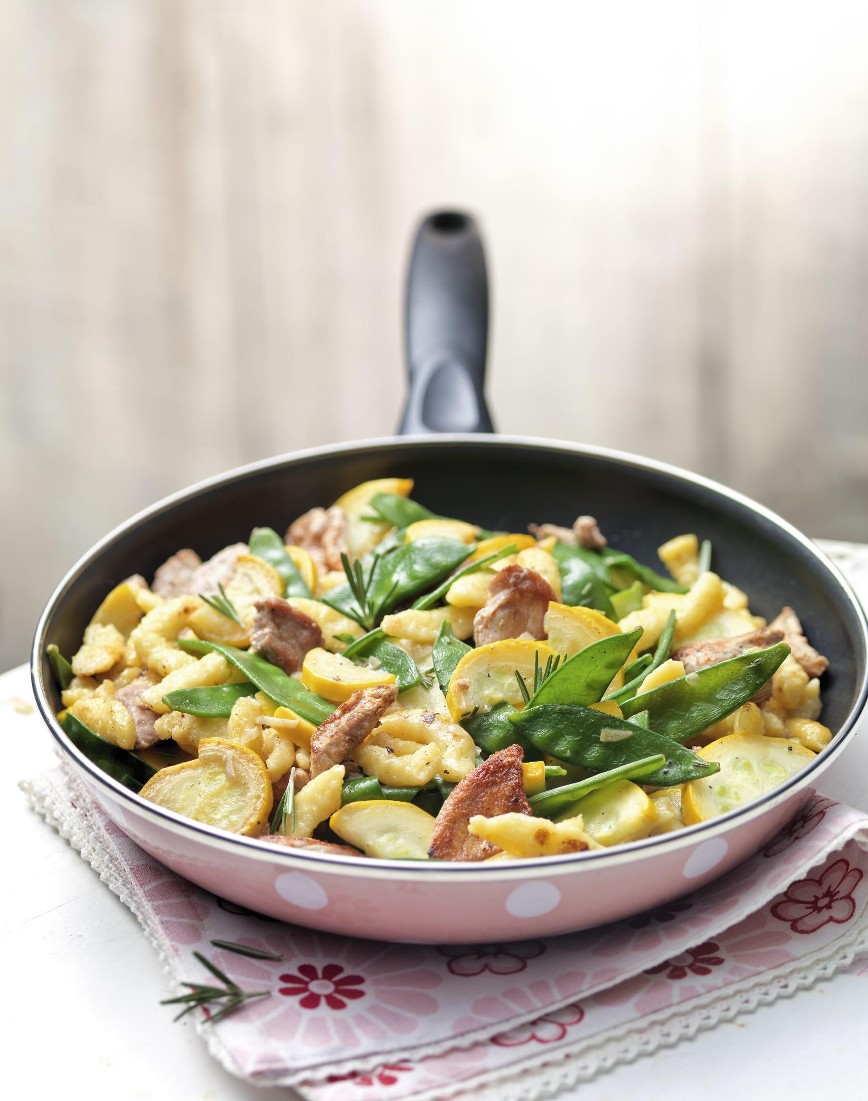 Gemüse-Pfanne mit Geschnetzeltem