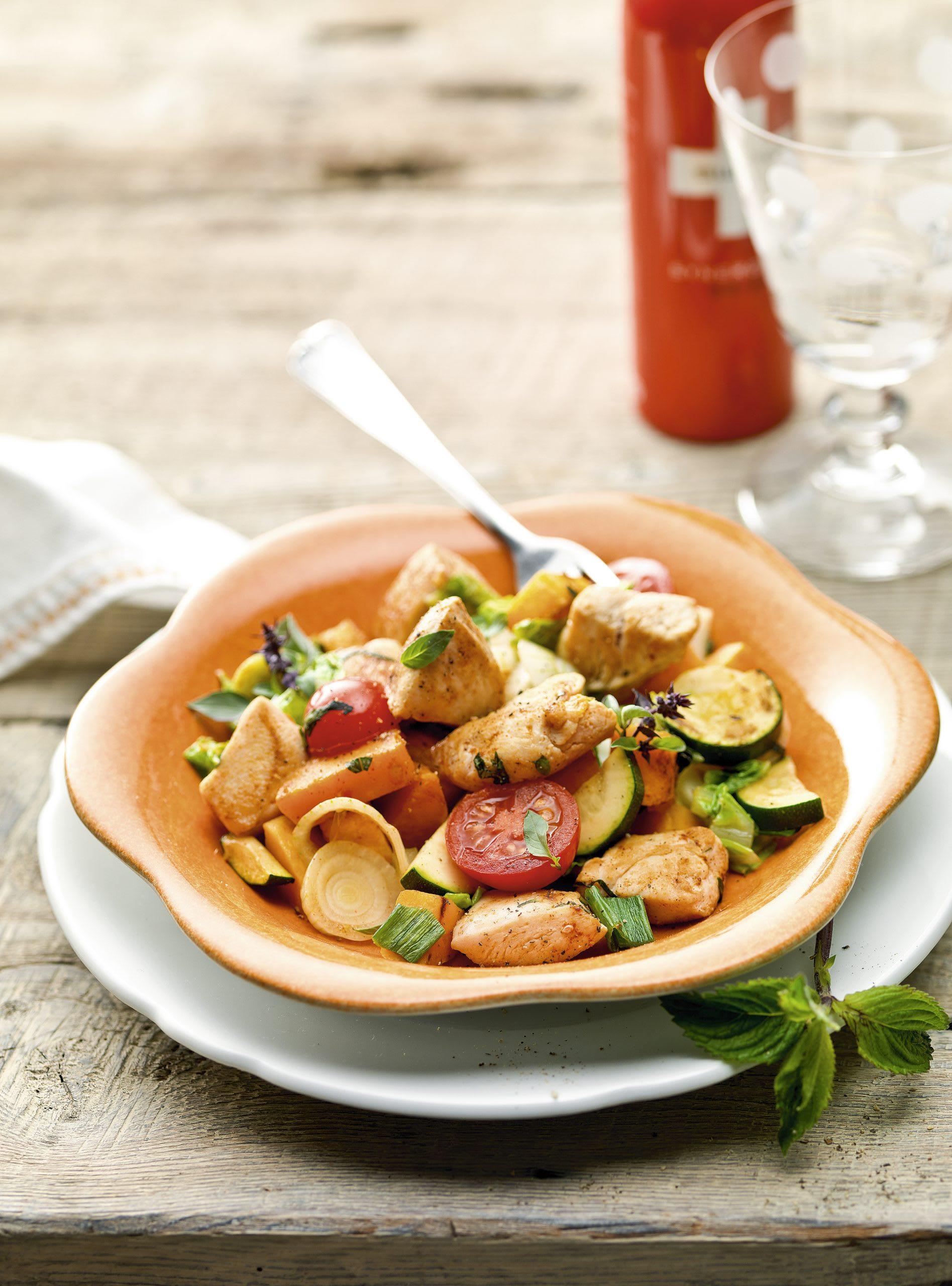 Gemüse-Poulet-Pfanne