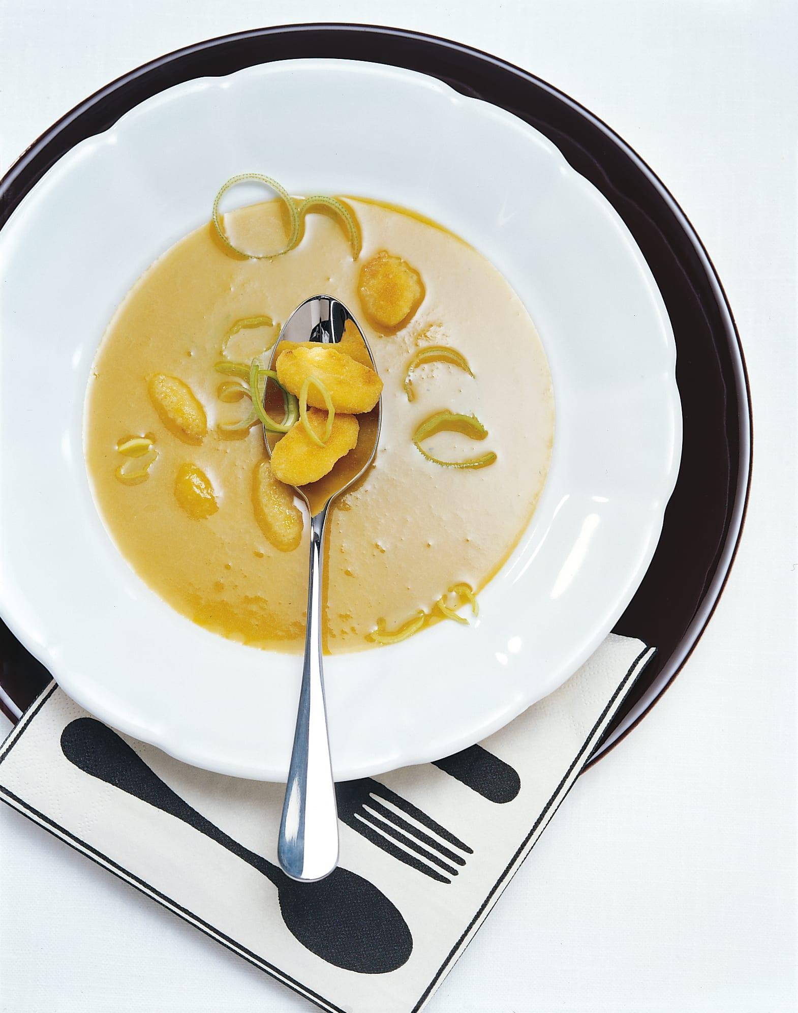 Velouté de légumes avec des gnocchi