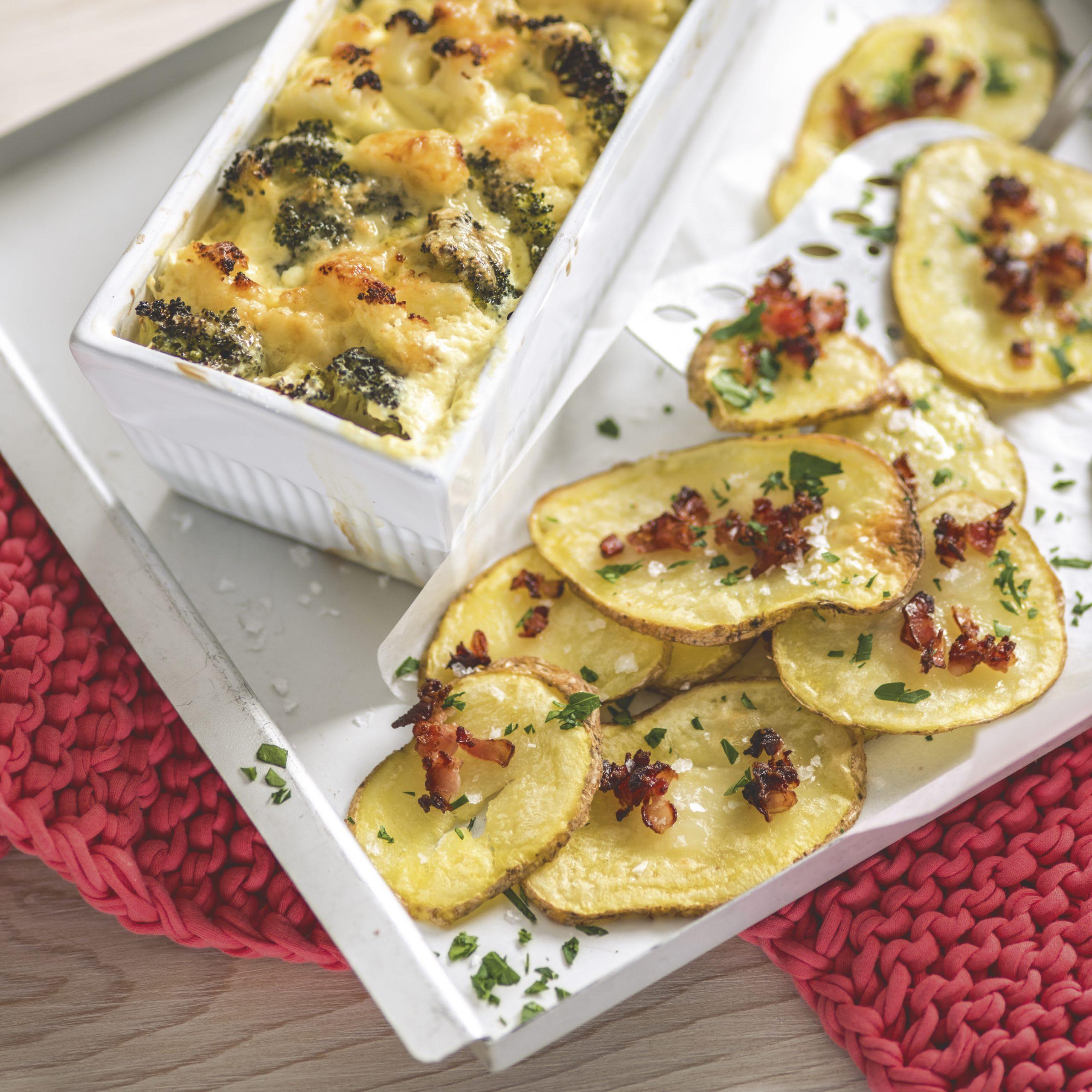 Gemüsegratin mit Speck-Kartoffel-Chips