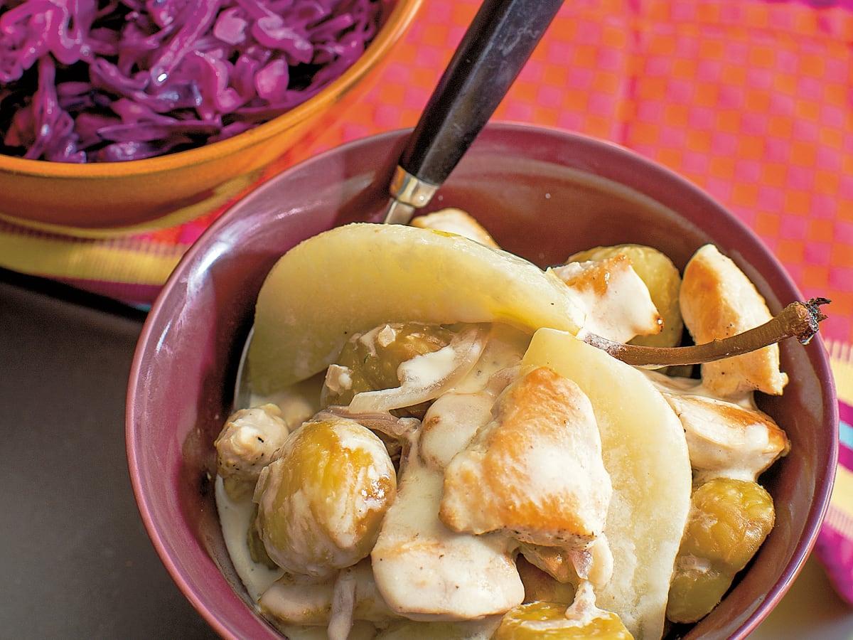 Emincé de poulet aux marrons et aux poires