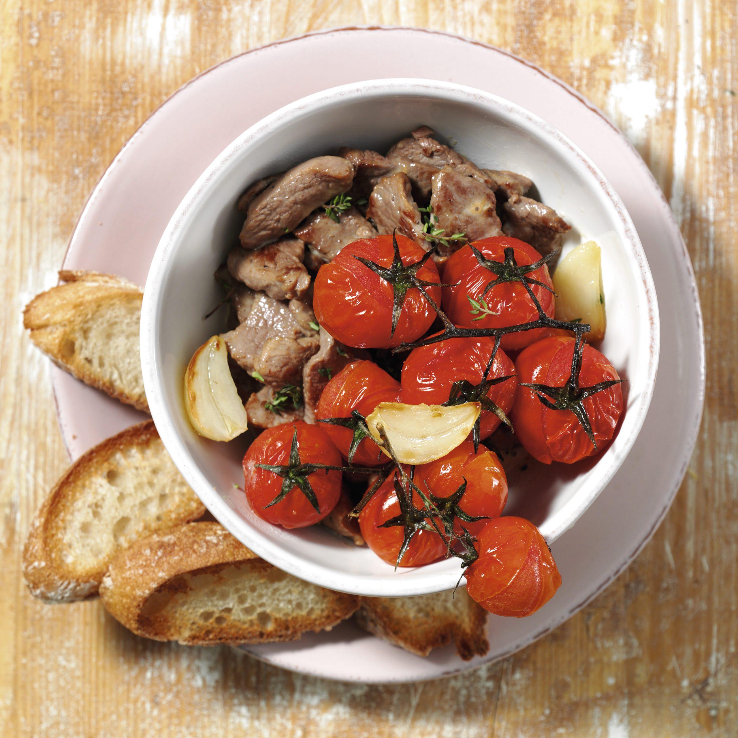 Emincé aux tomates cerises