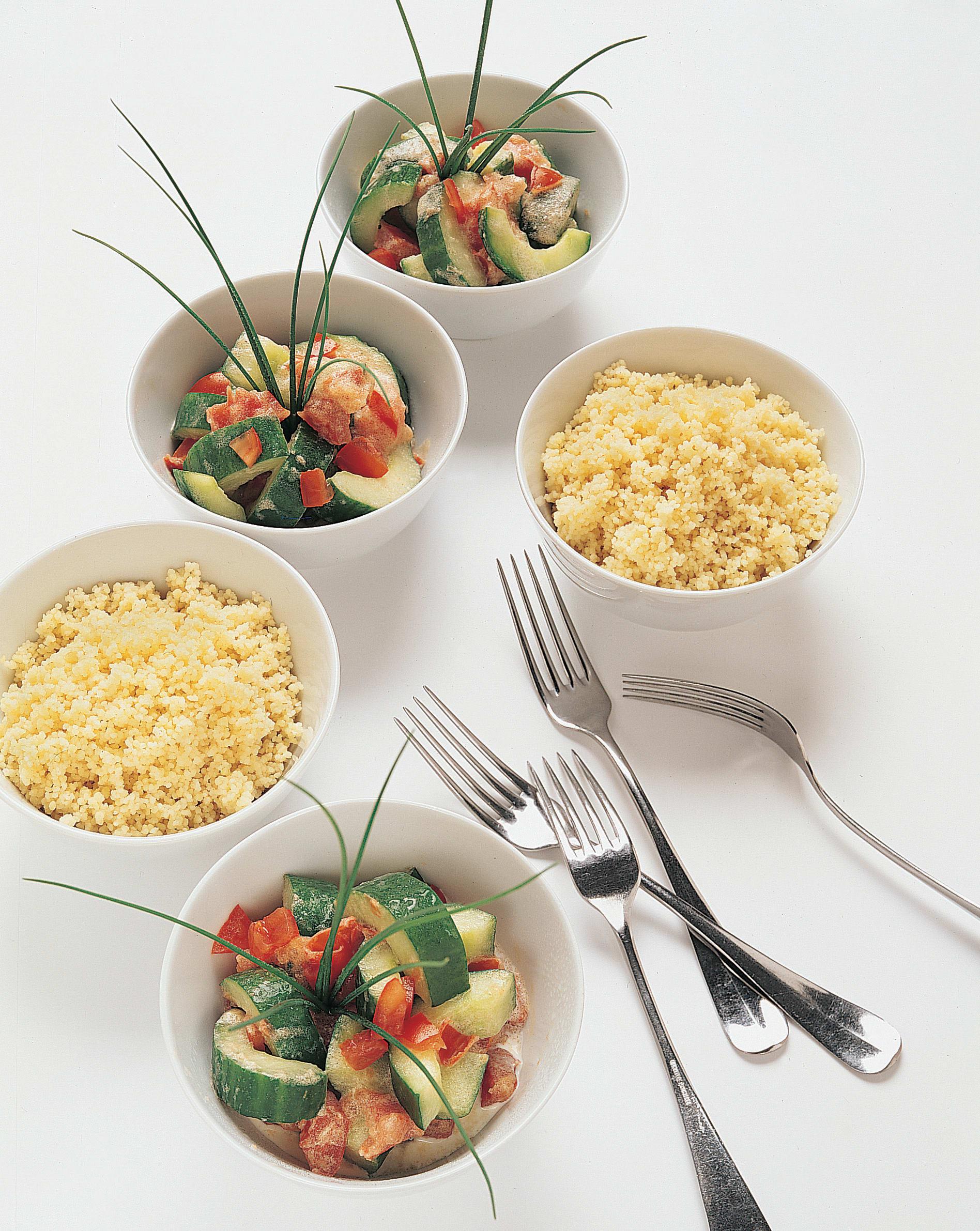 Jardinière de concombre et couscous