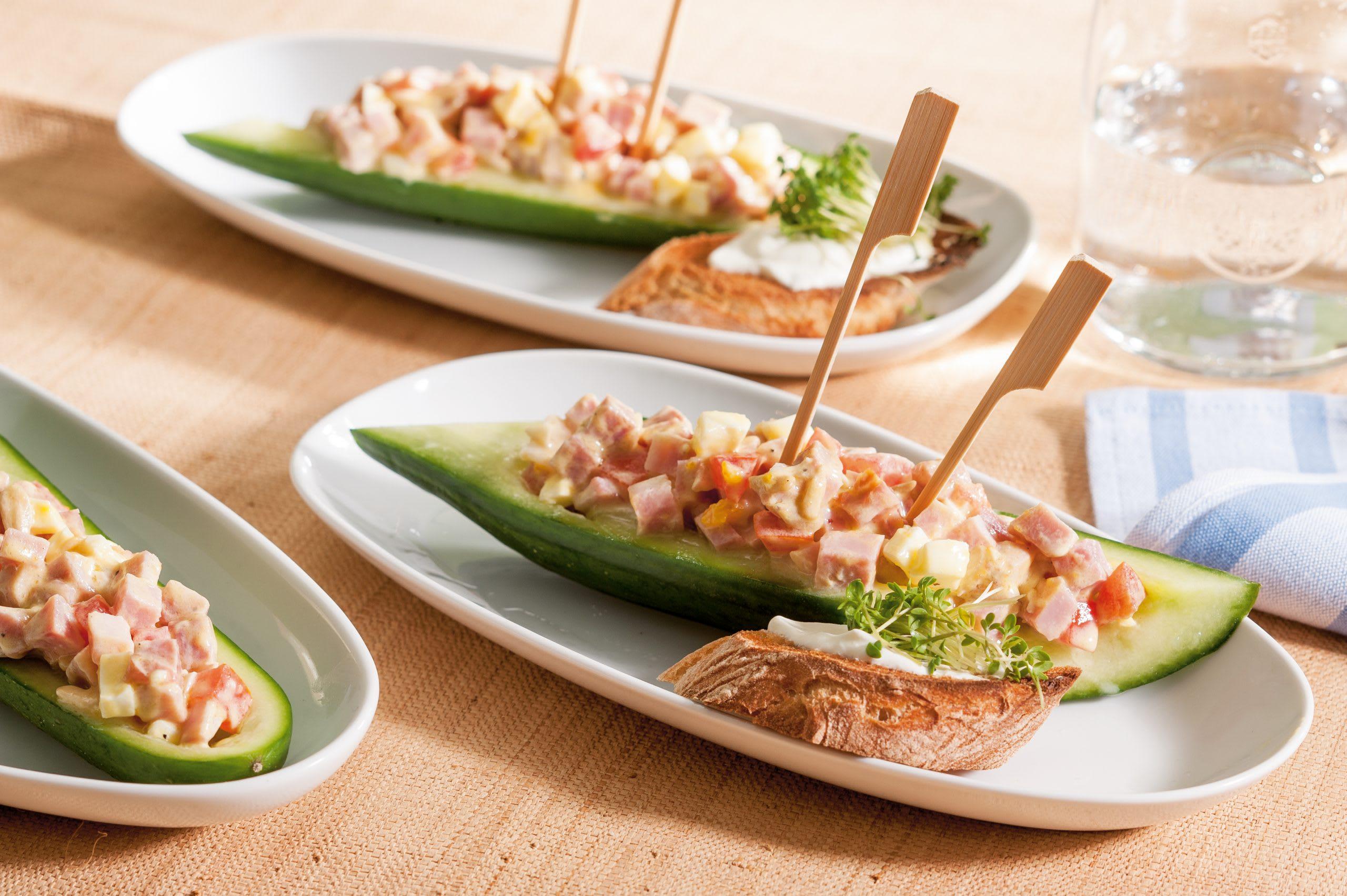 Gondoles de concombre au jambon