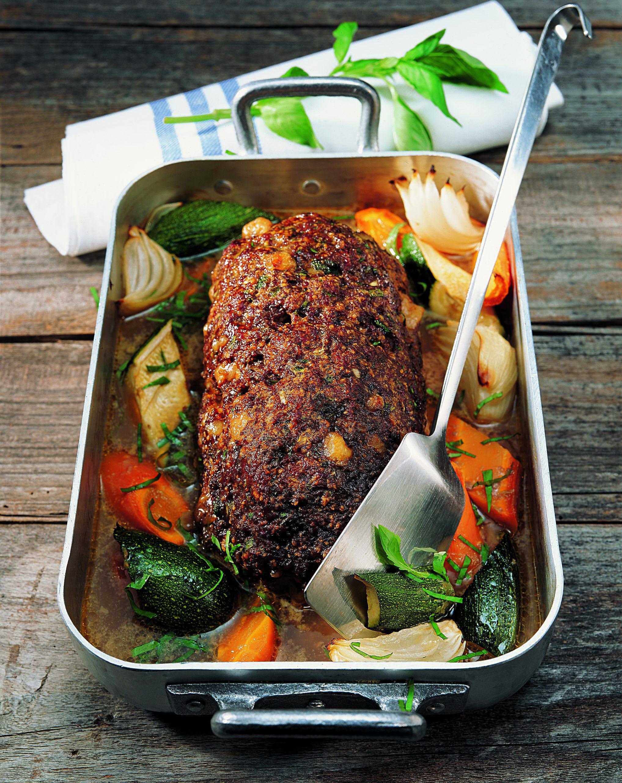 Rôti haché avec mozzarella et légumes