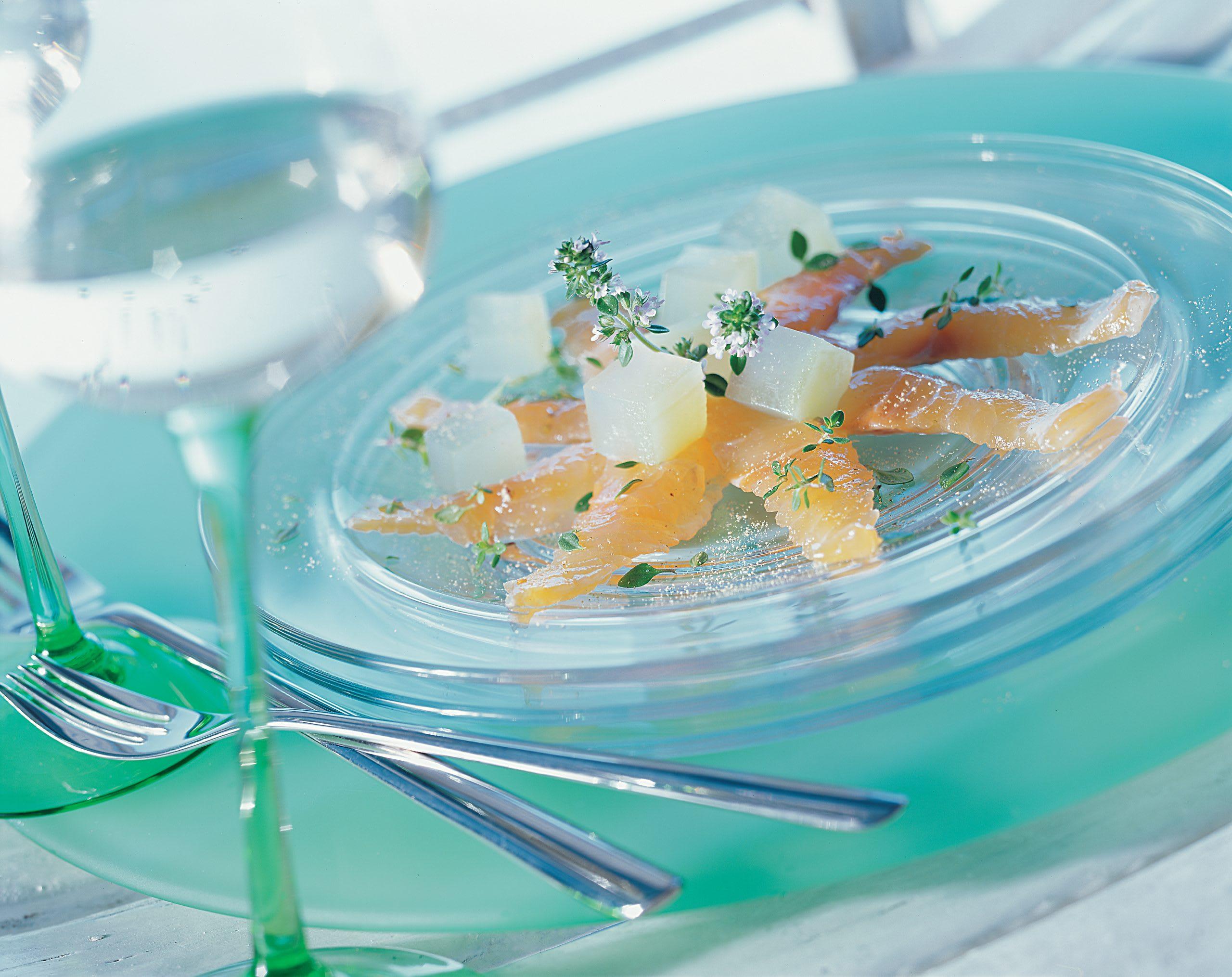 Omble marinésur gelée de concombre