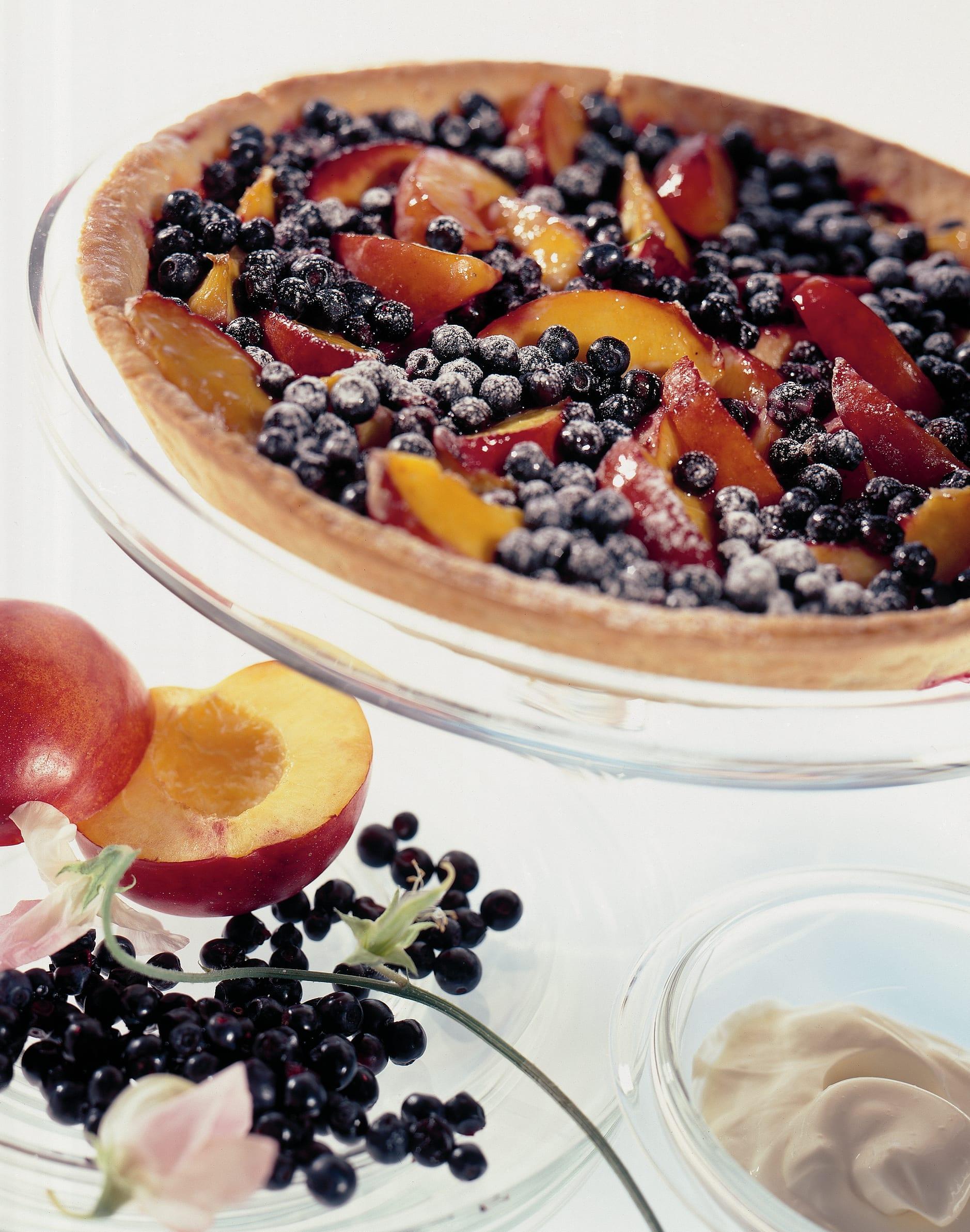 Tarte aux myrtilles et aux nectarines