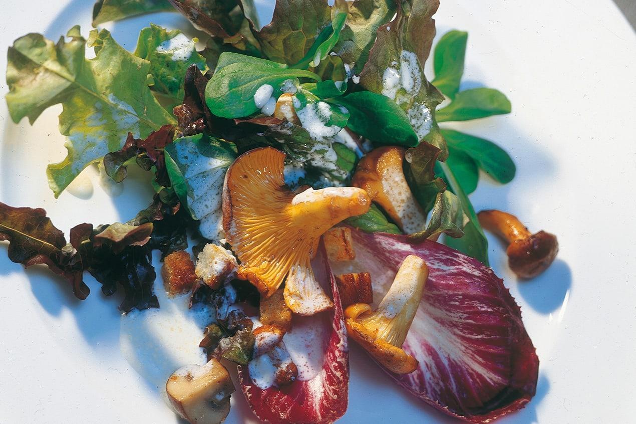 Herbstlicher Blattsalat mit Pilzen