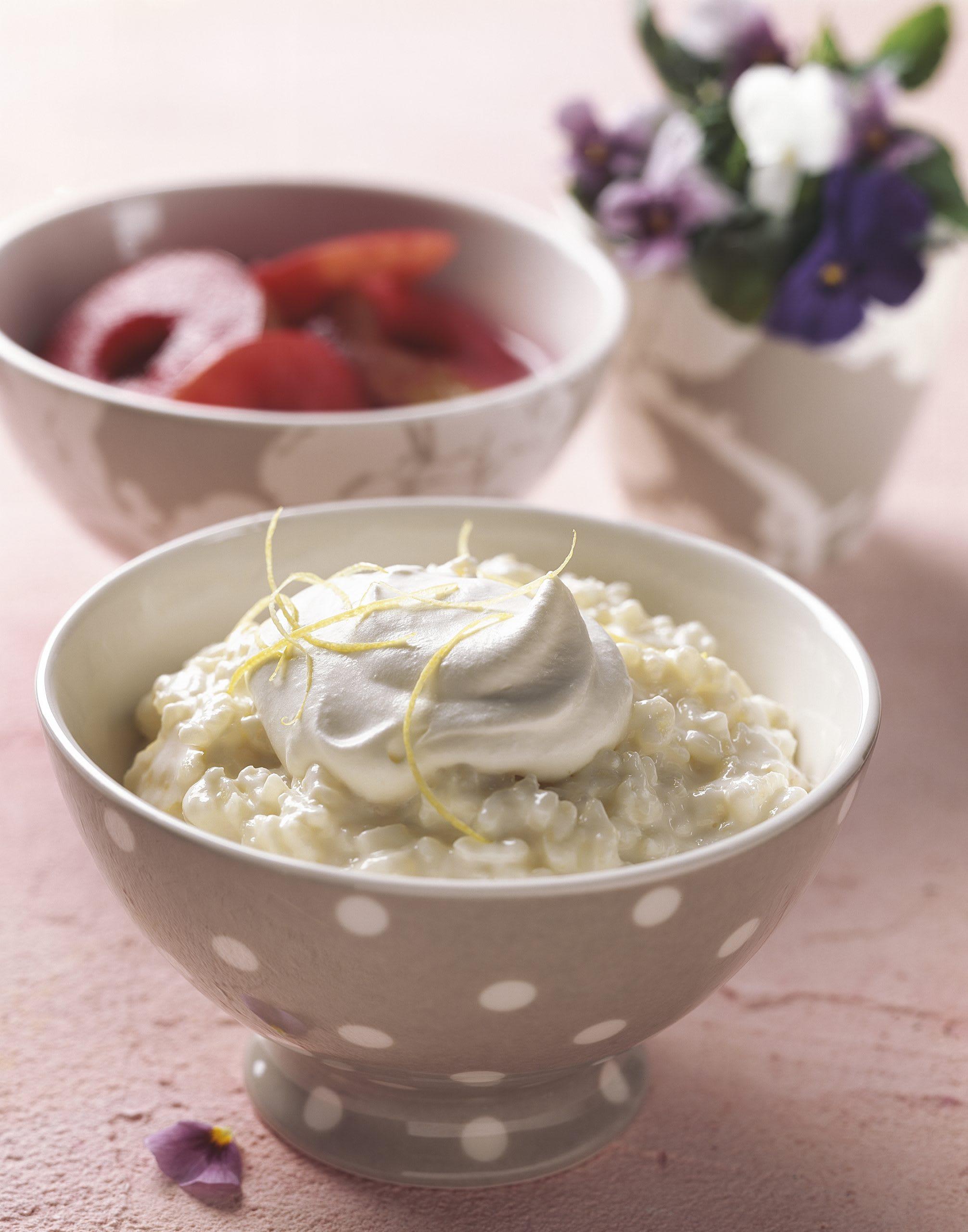 Riz au lait au gingembre et rondelles de pomme