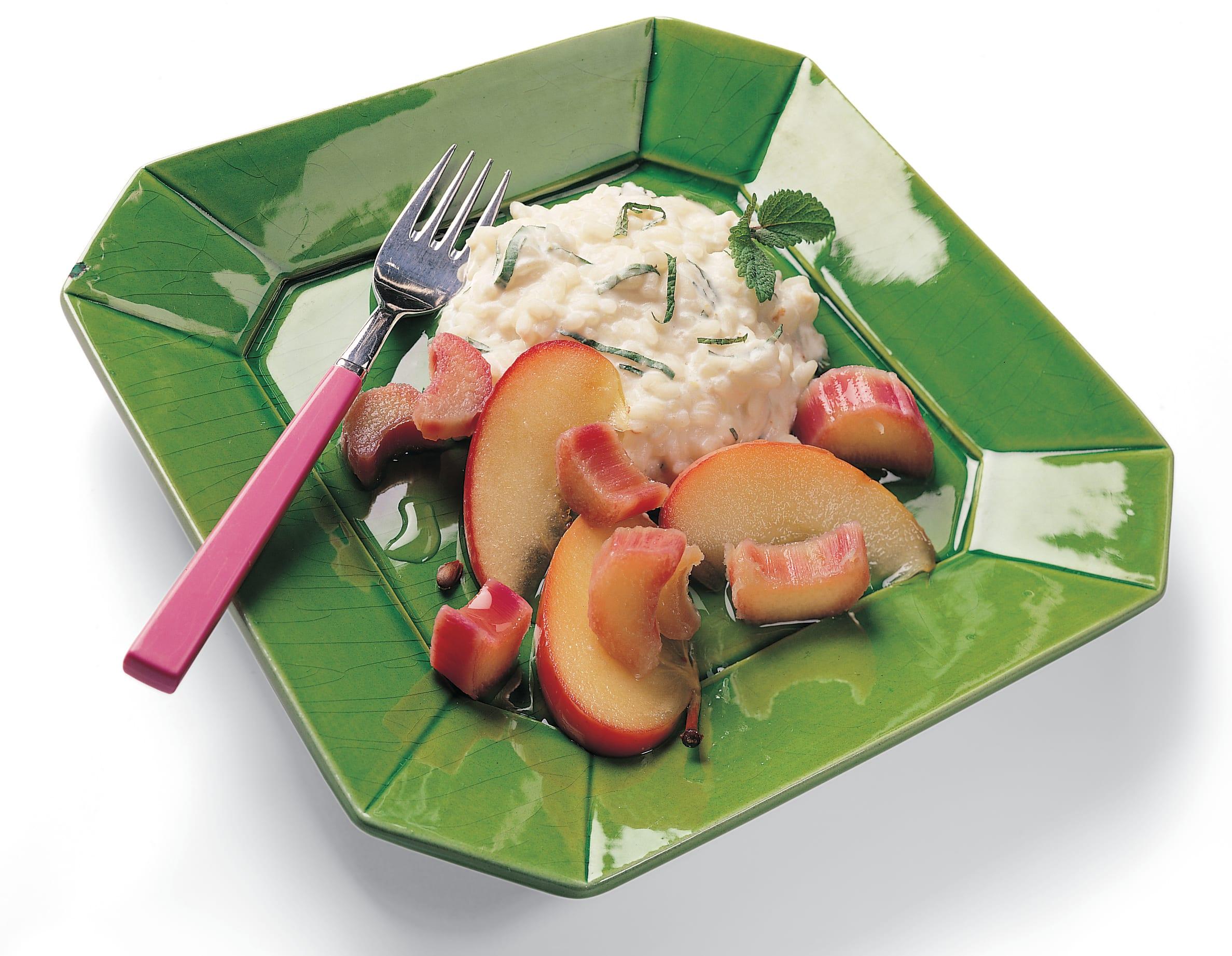 Riz au yogourt et compote pomme-rhubarbe