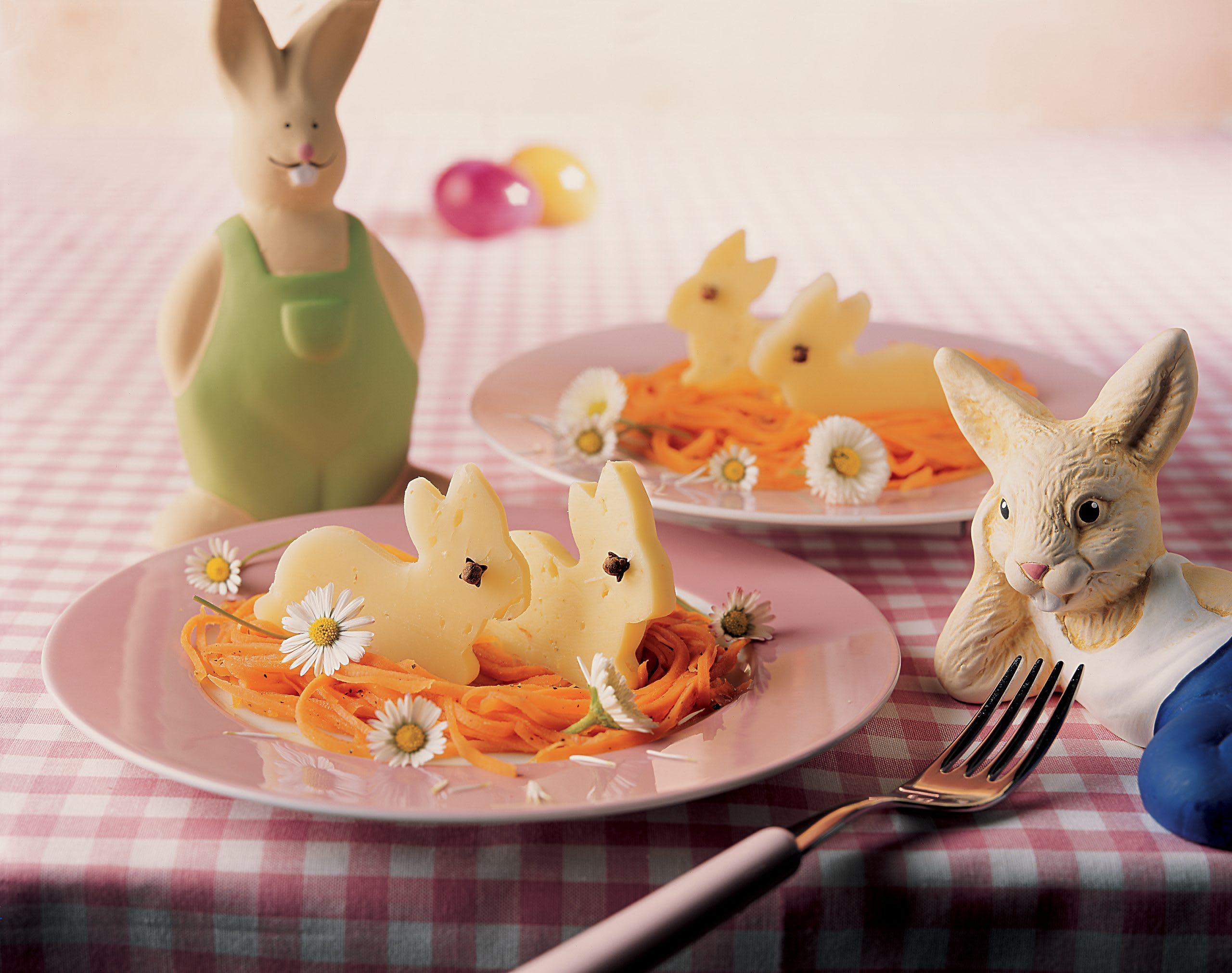 Lapereaux en fromage sur lit de carottes