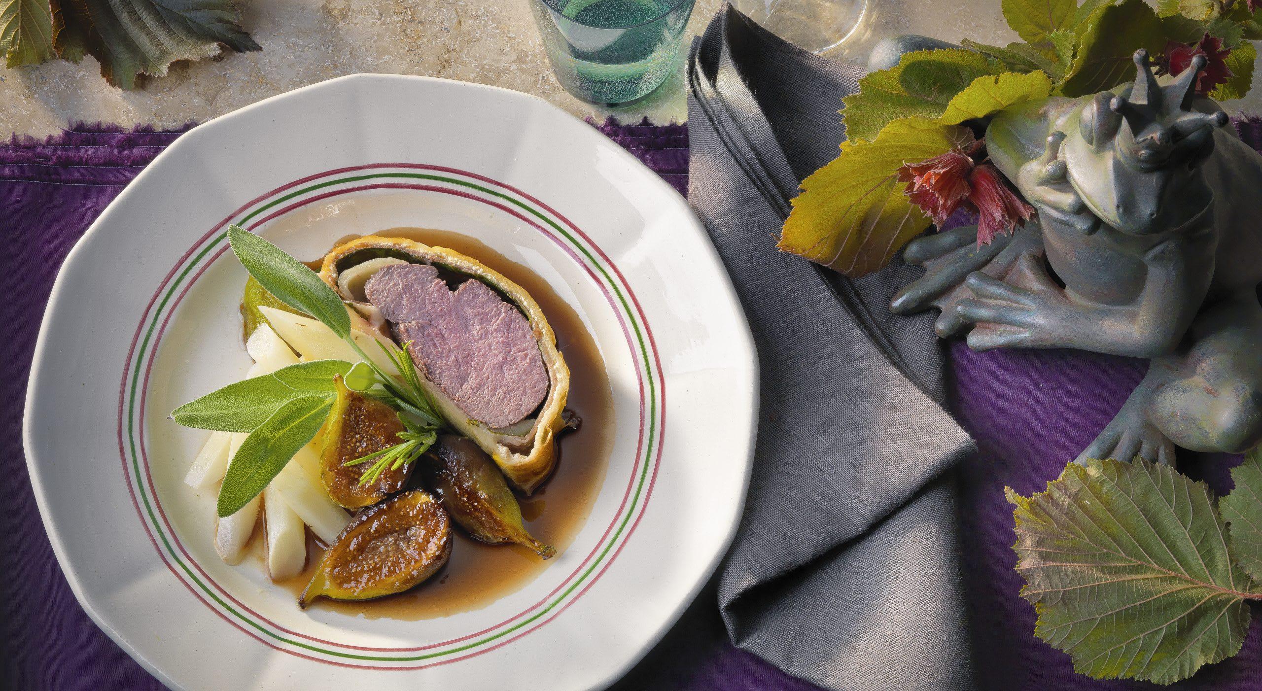 Filet de veau en croûte aux figues sauce porto