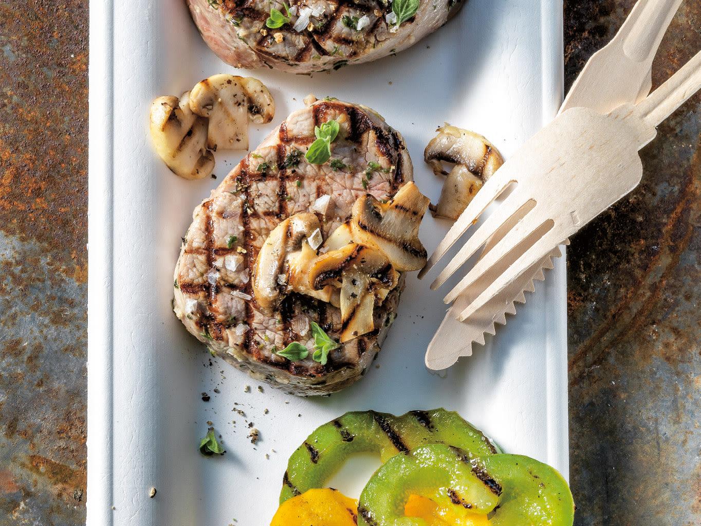 Médaillons de veau et champignons au barbecue