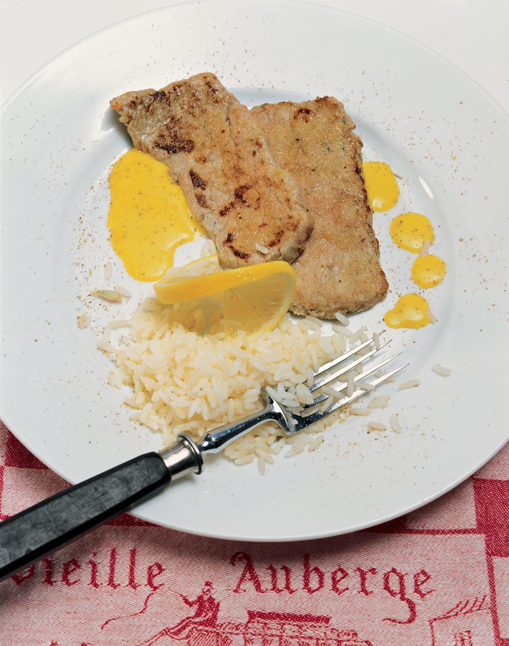 Kalbsschnitzel an Safran-Caramelsauce