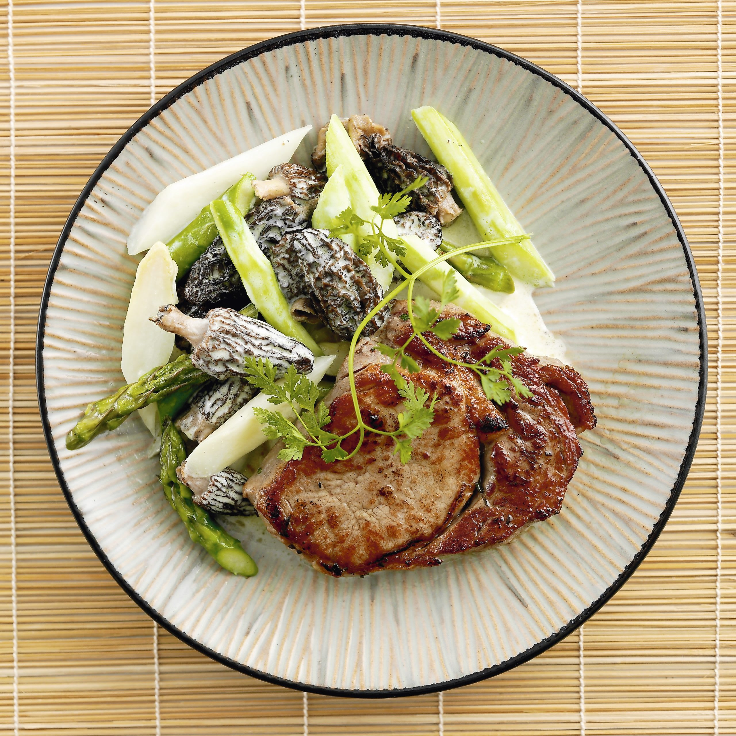 Steaks de veau, asperges et morilles (low carb)