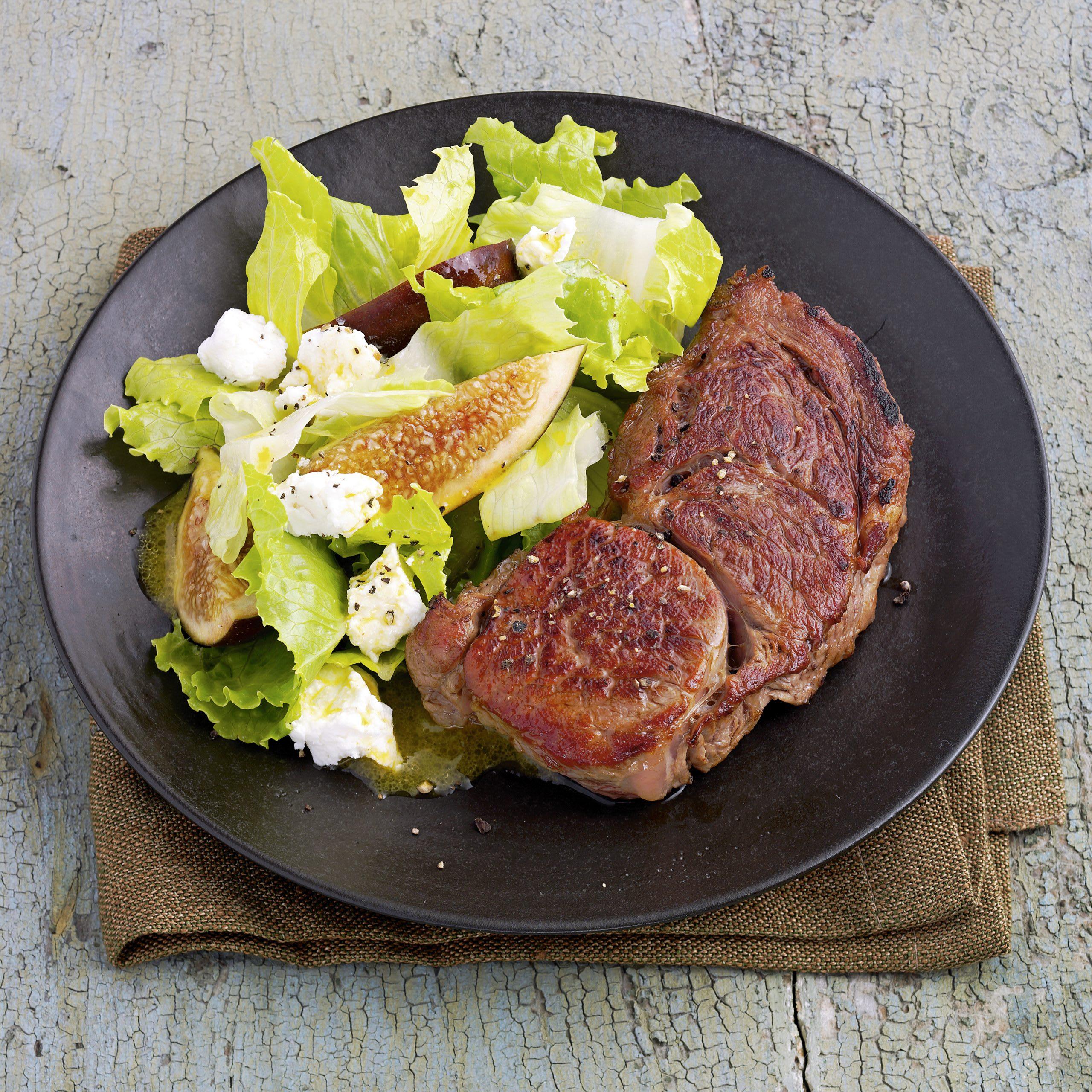 Steaks de veau et salade de figues