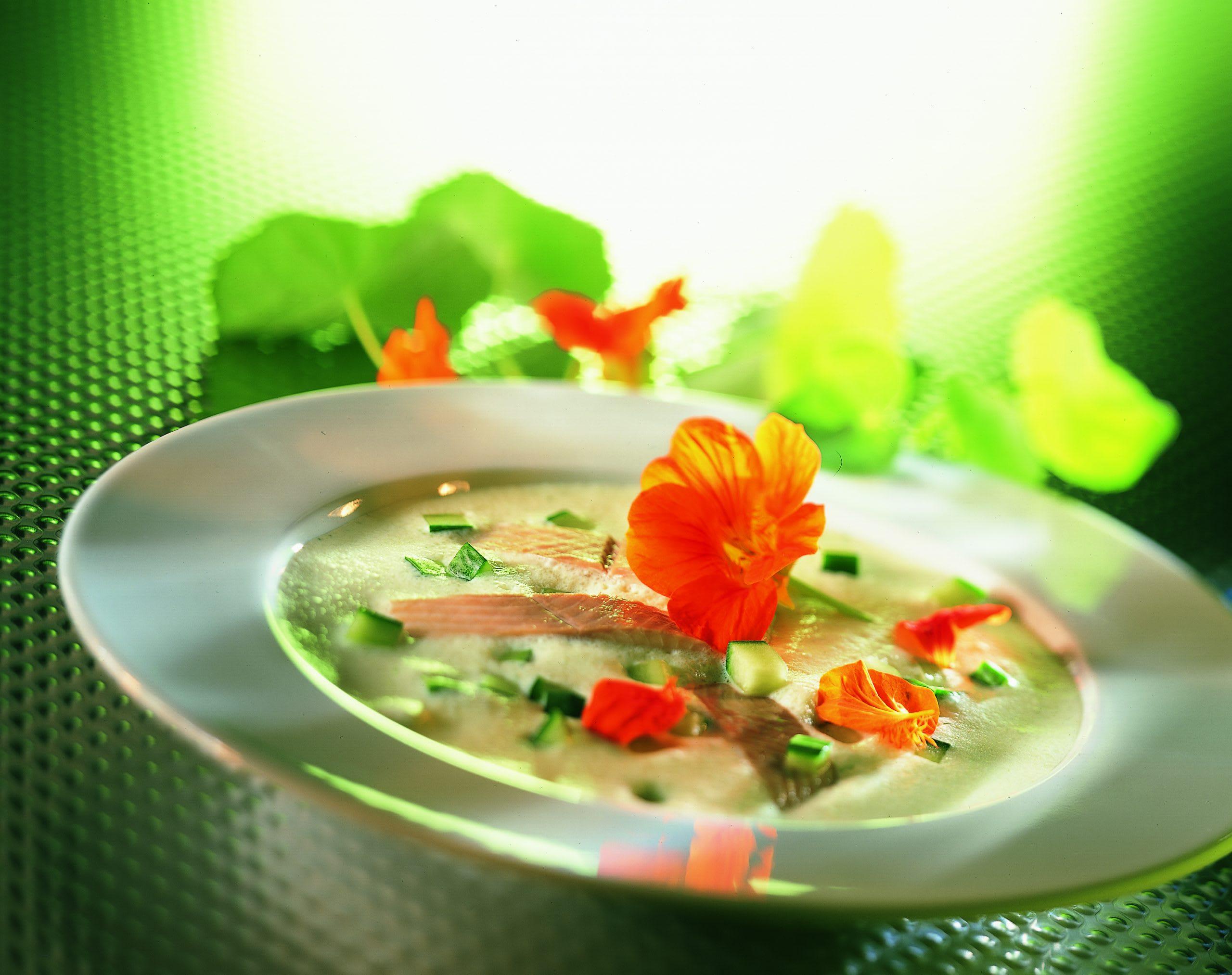 Kalte Buttermilchsuppe mit geräucherter Forelle