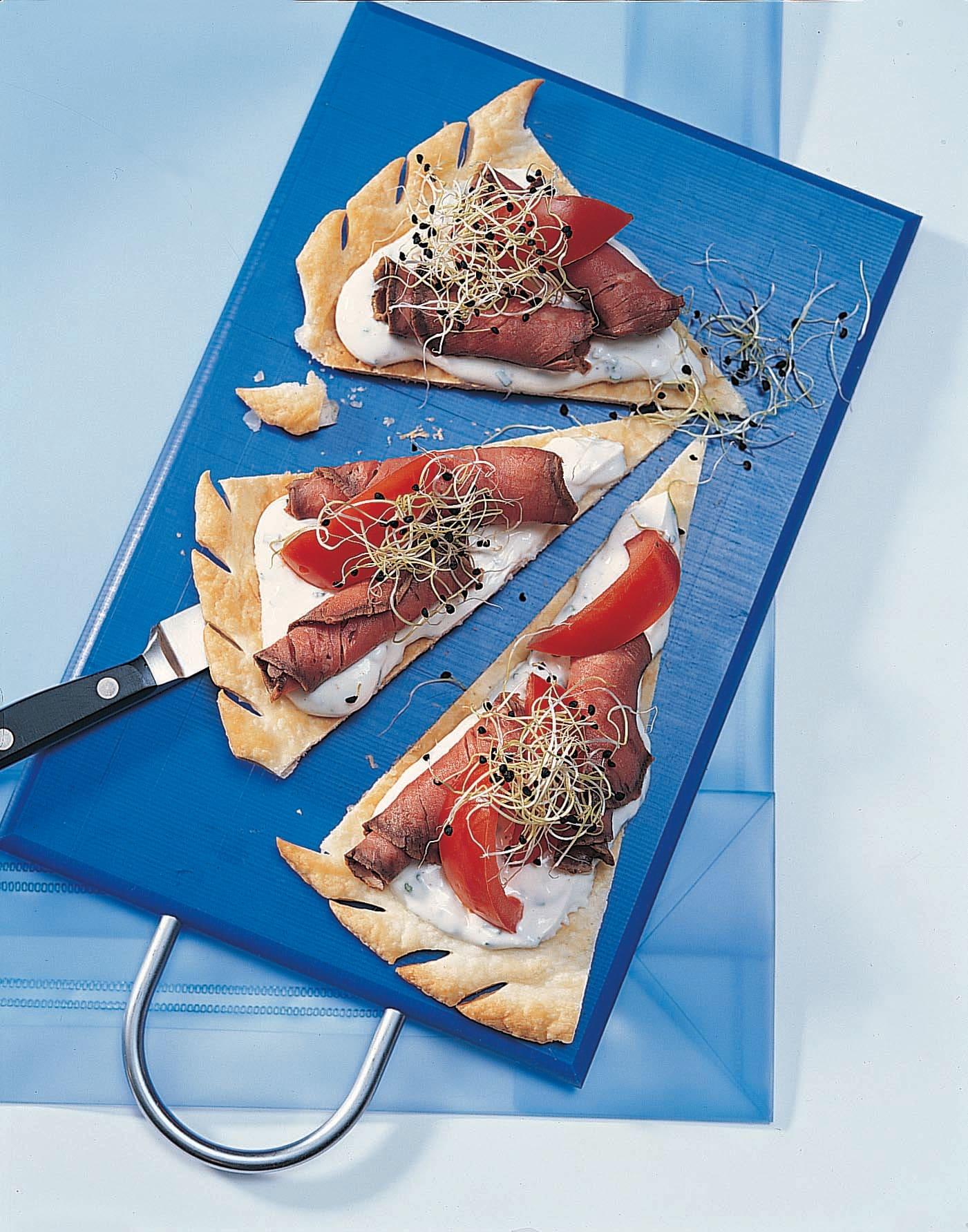 Tarte froide aux tomates et rosbif