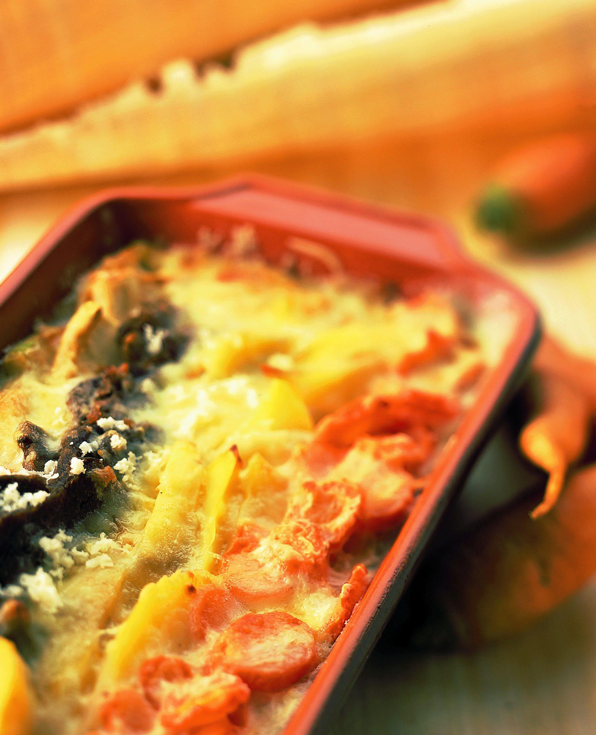 Kartoffel-Gemüsegratin mit Siedfleisch