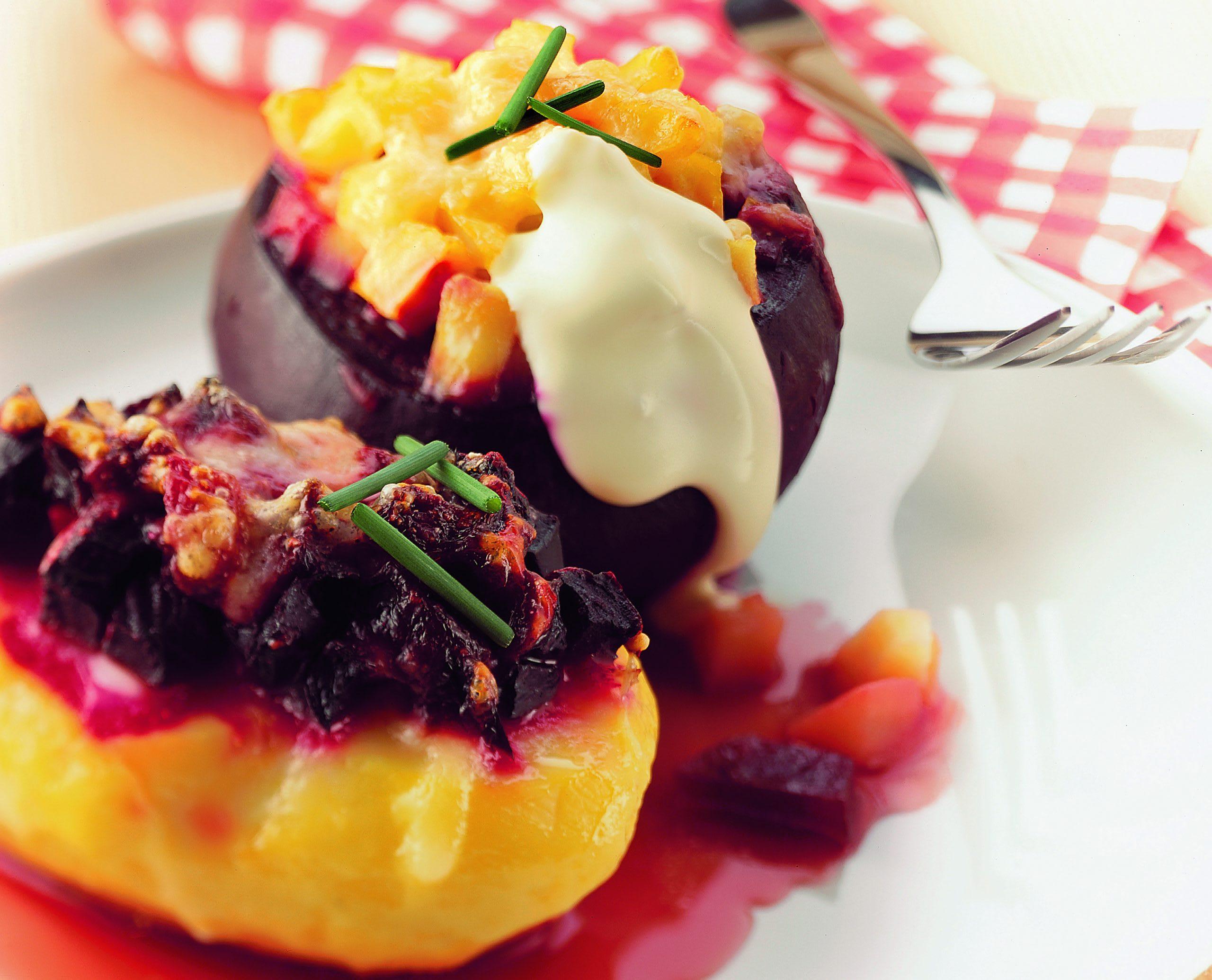 Kartoffel-Randen-Gratin mit Gruyère
