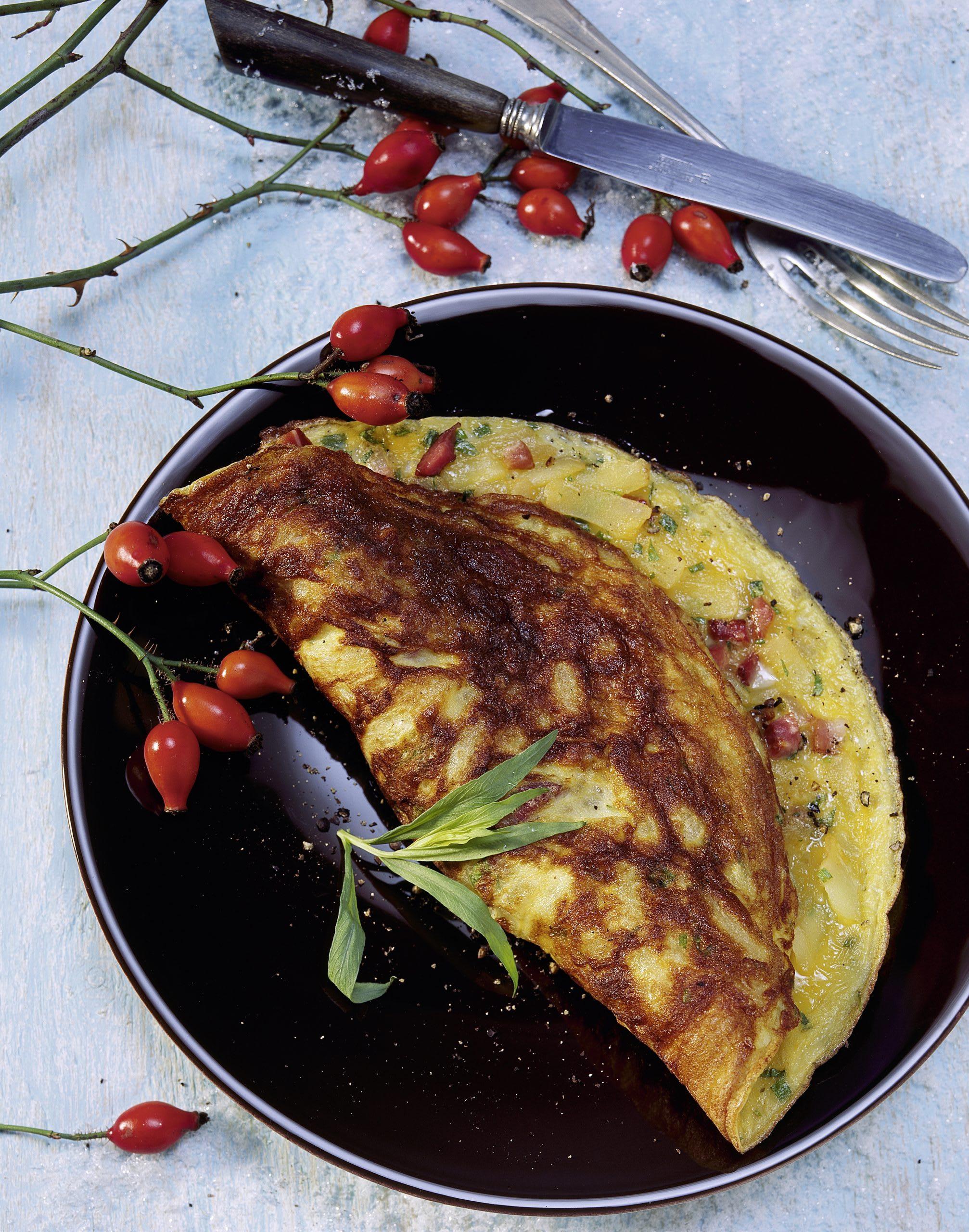 Omelette aux pommes de terre et aux lardons