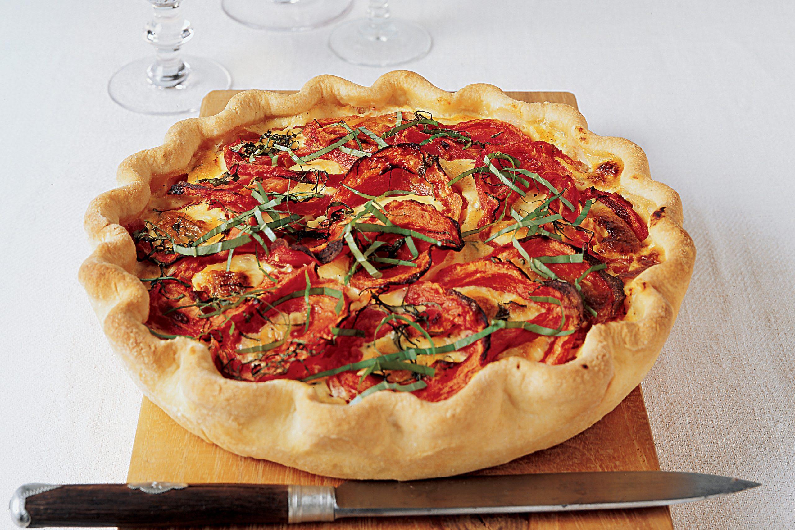 Kartoffel-Tomatenkuchen mit Schinken
