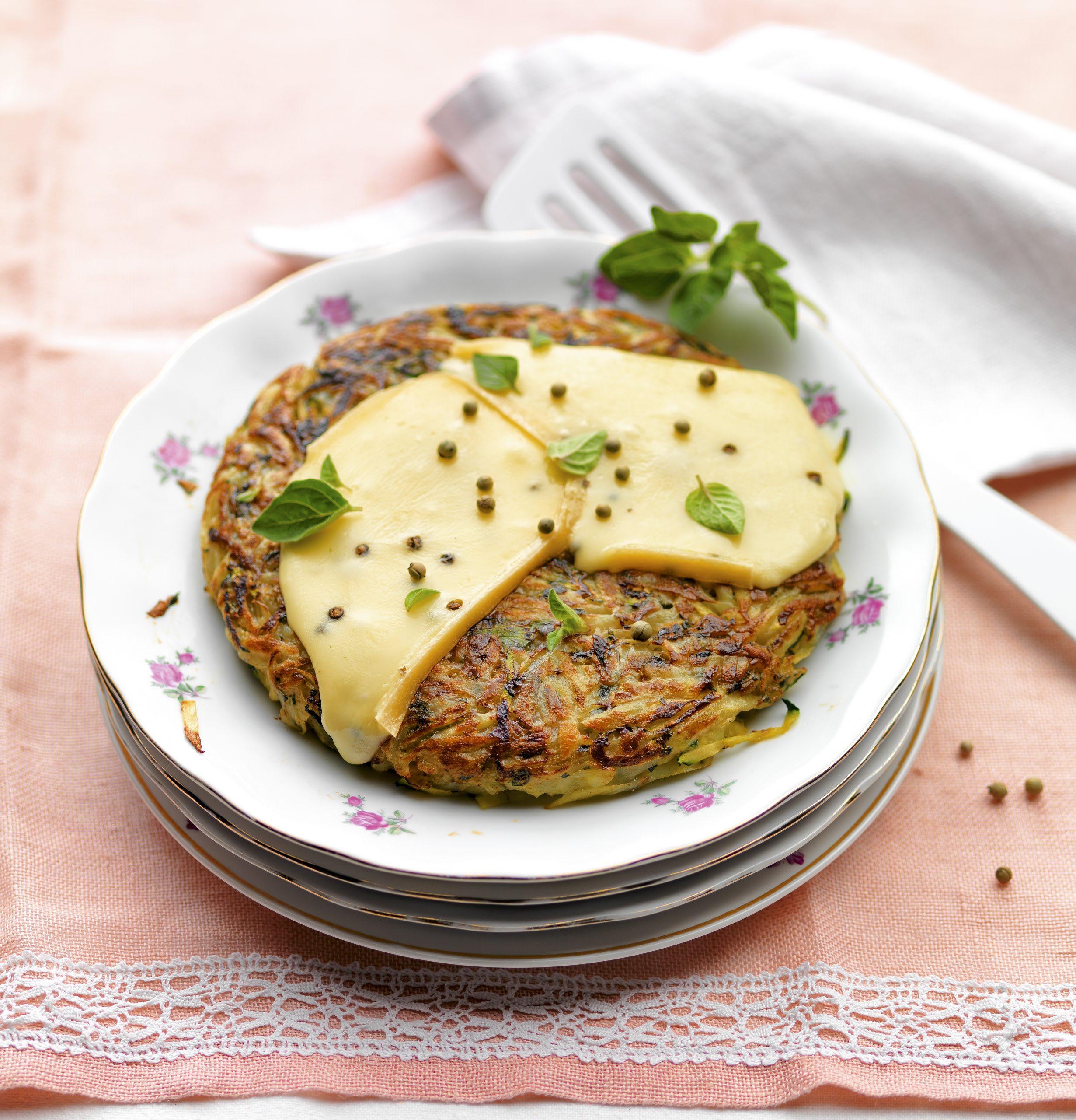 Rösti de courgettes au fromage poivré
