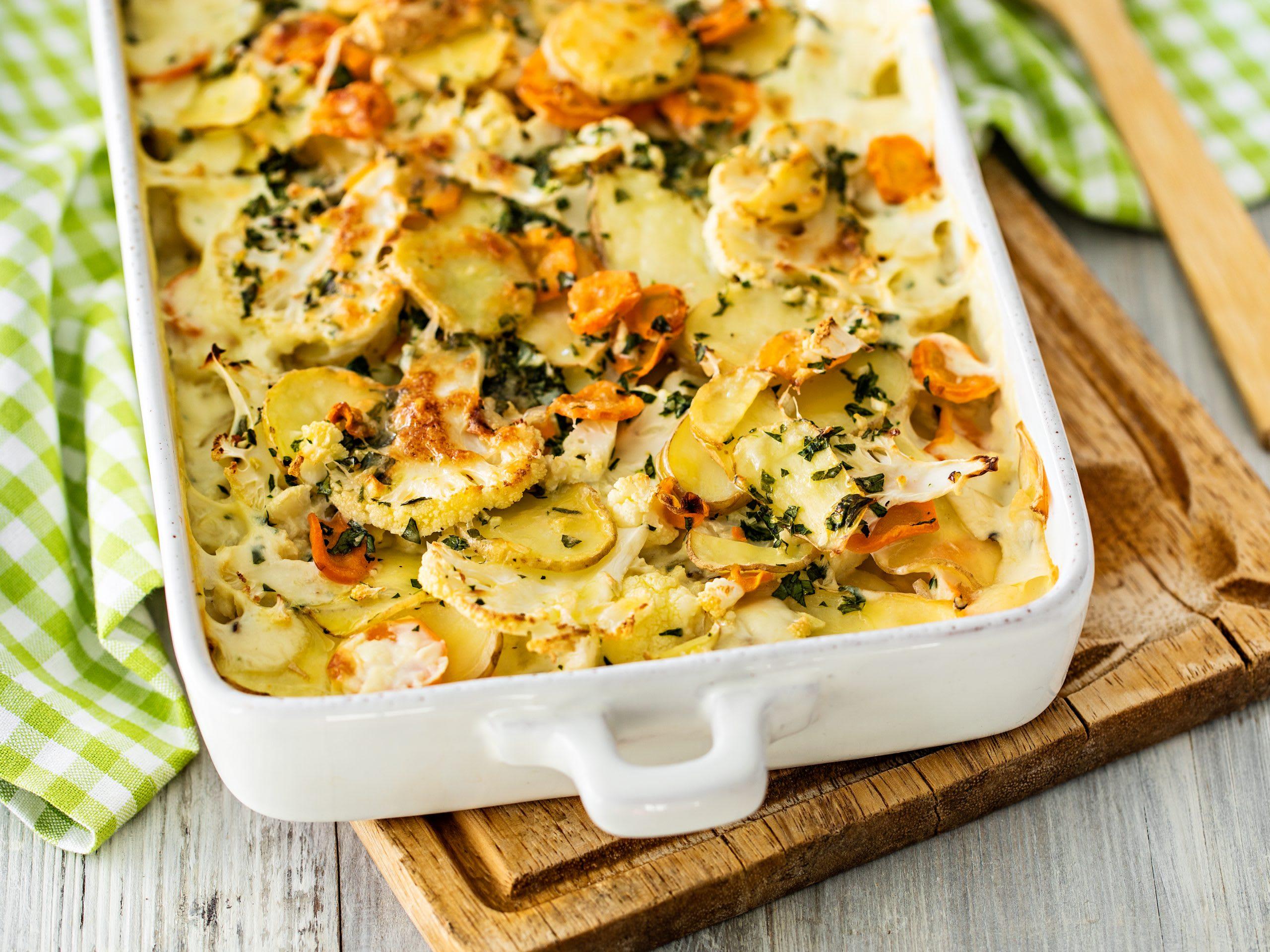 Gratin de pommes de terre aux légumes