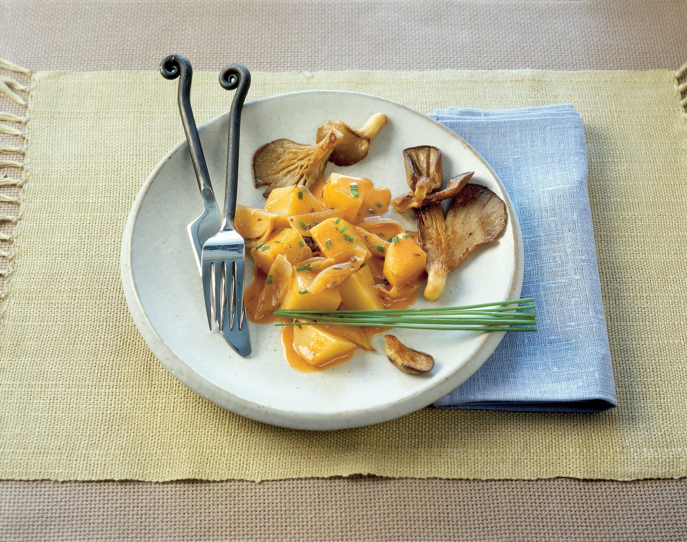 Pommes de terre en sauce aux pleurotes