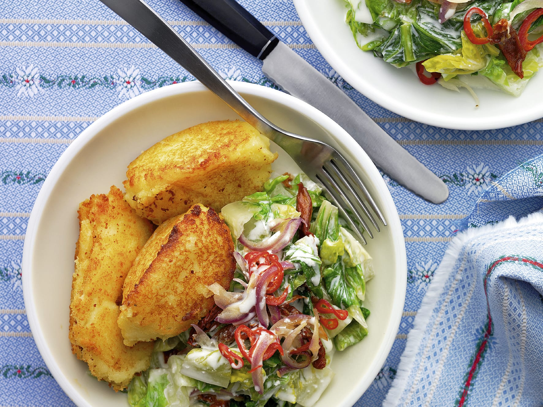 Kartoffelnocken mit Lattich-Gemüse