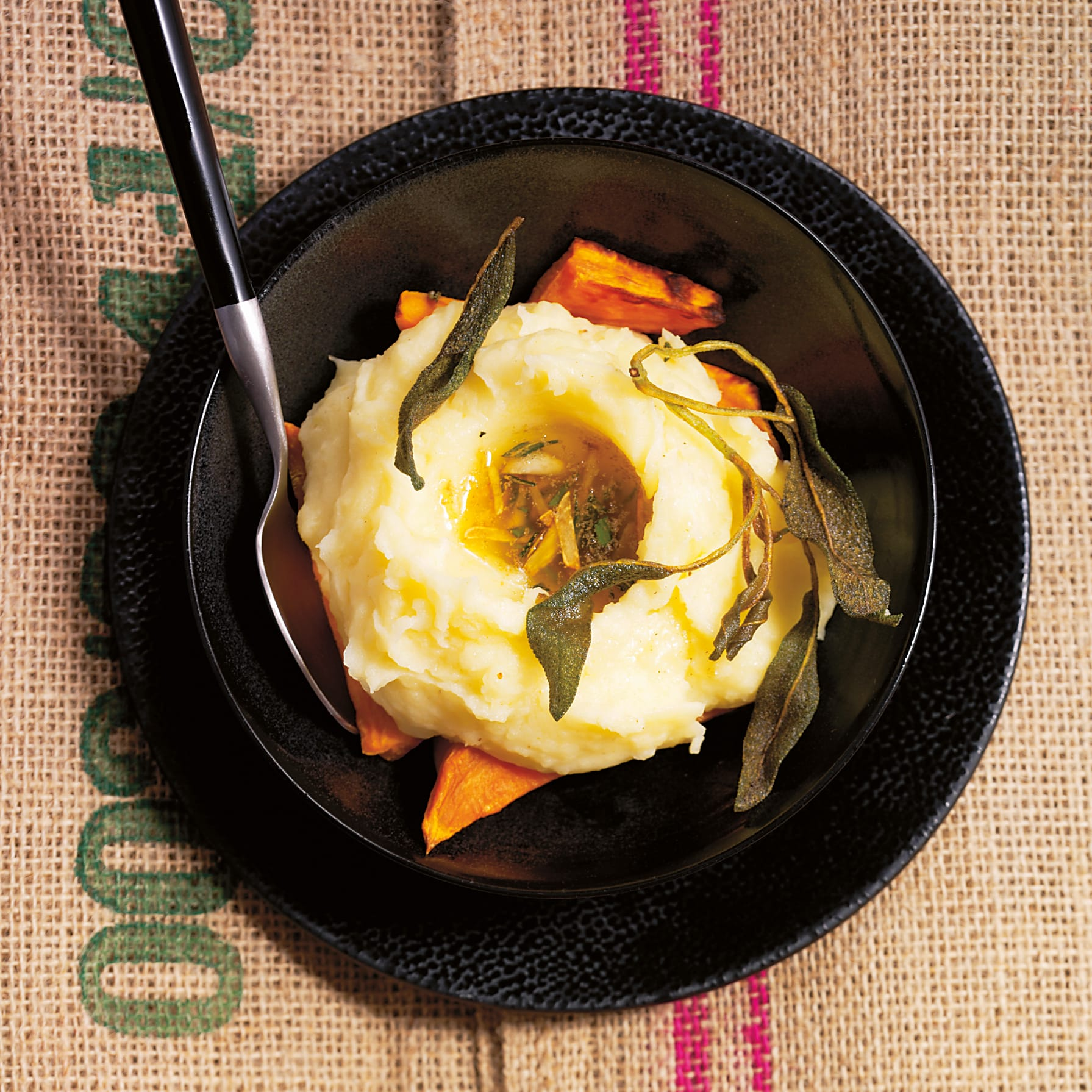 Kartoffelstock auf gebratenem Kürbis