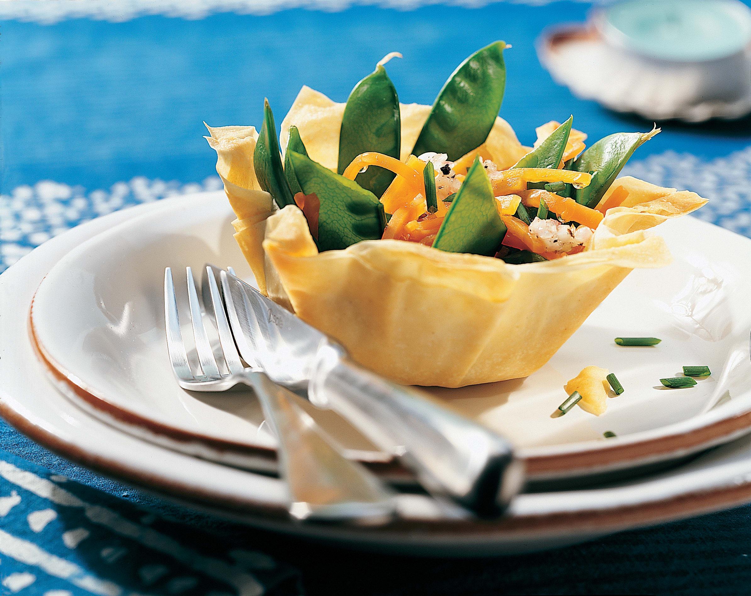 Corbeilles de pois mange-tout en salade