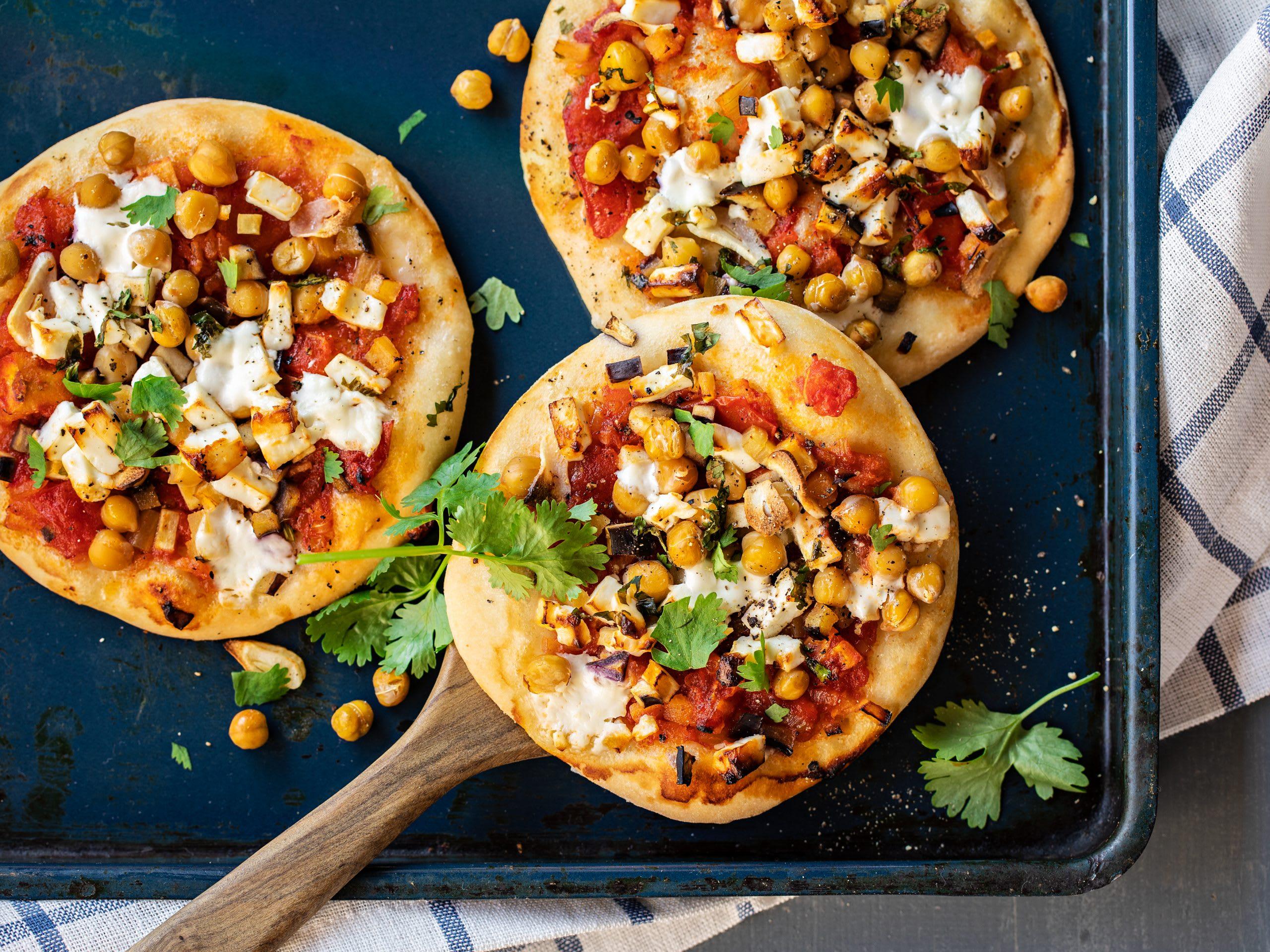 Kichererbsen-Frischkäse-Pizzette
