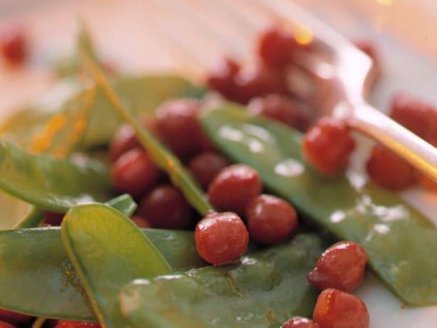 Kichererbsen-Kefen-Gemüse