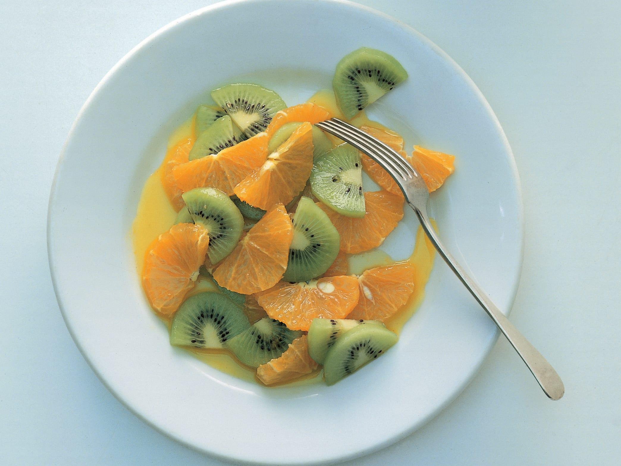 Salade de kiwi et d'orange à la crème aux figues