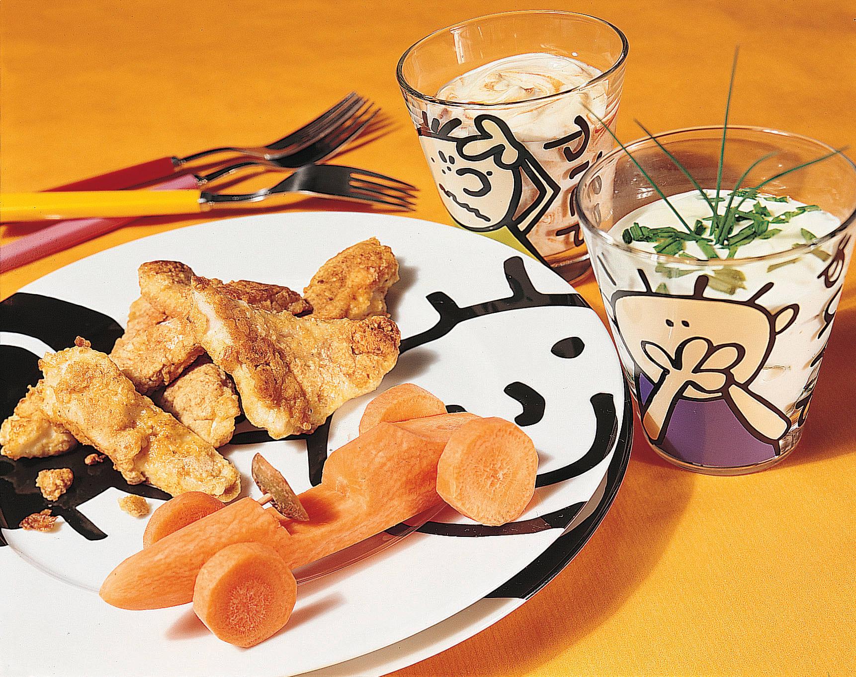 Poisson croustillant légumes fantaisie et sauces dip