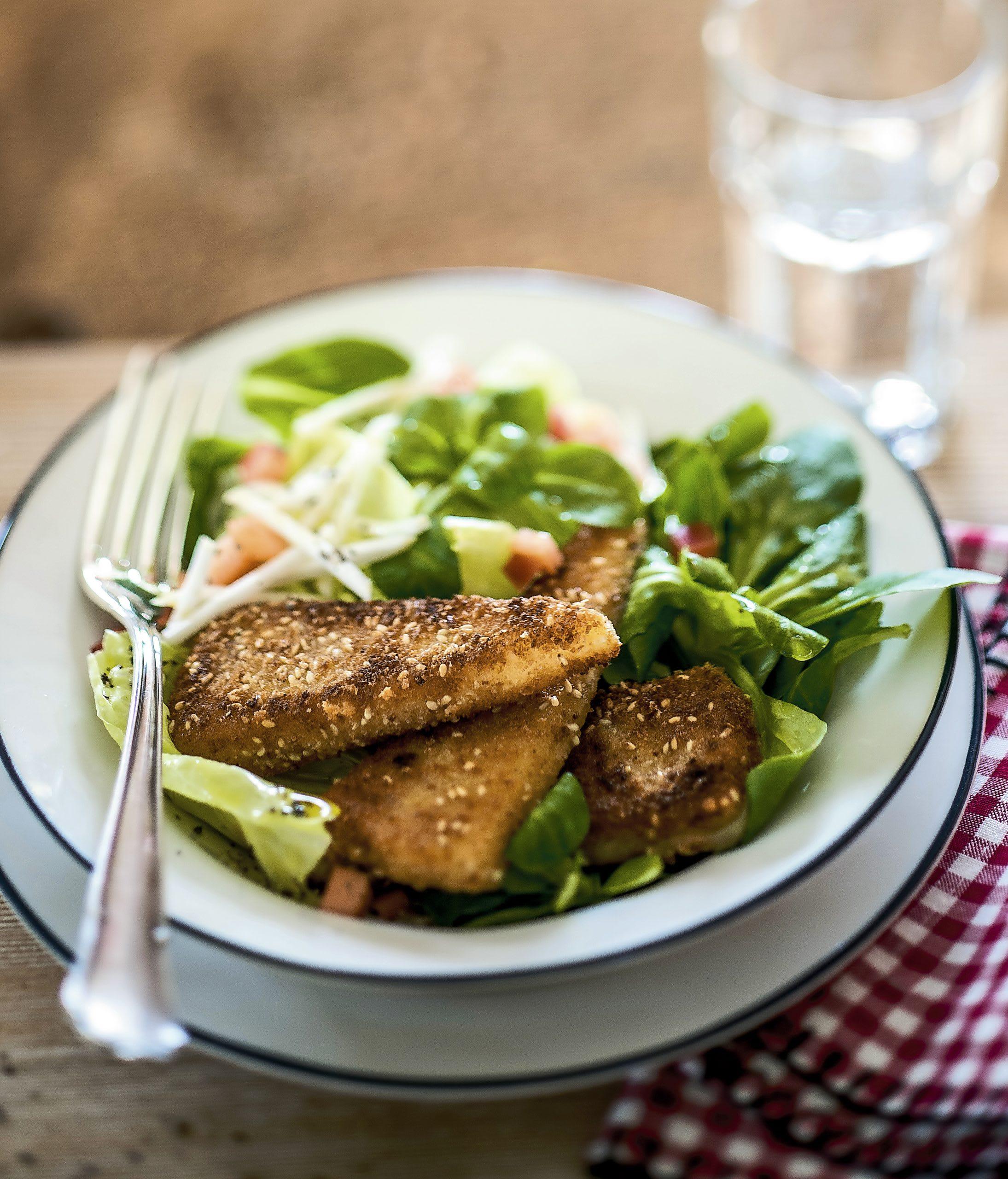 Fromage pané et salade