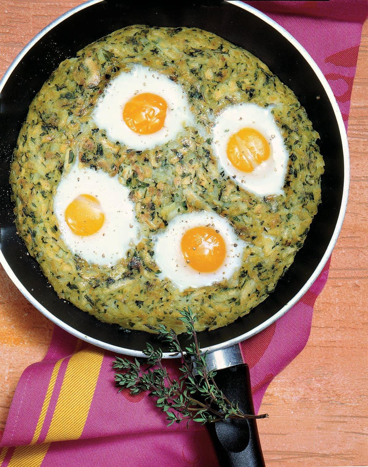 Kräuter-Rösti mit pochierten Eiern
