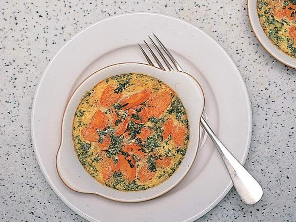 Flan au persil sur lit de carotte