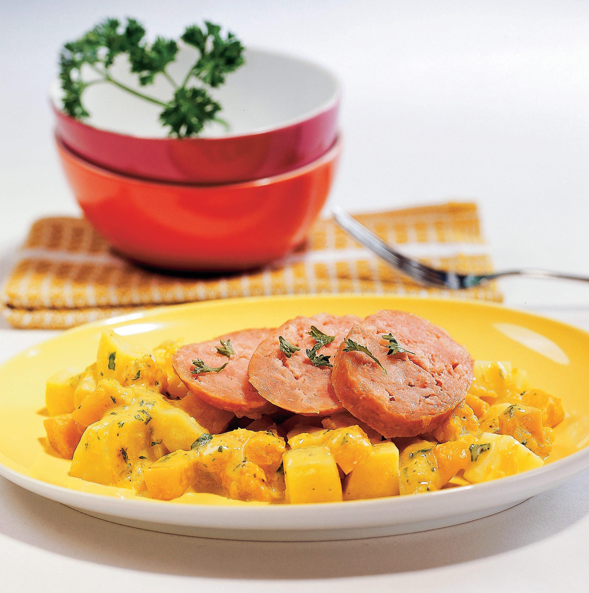 Kürbis-Kartoffeln mit Saucisson