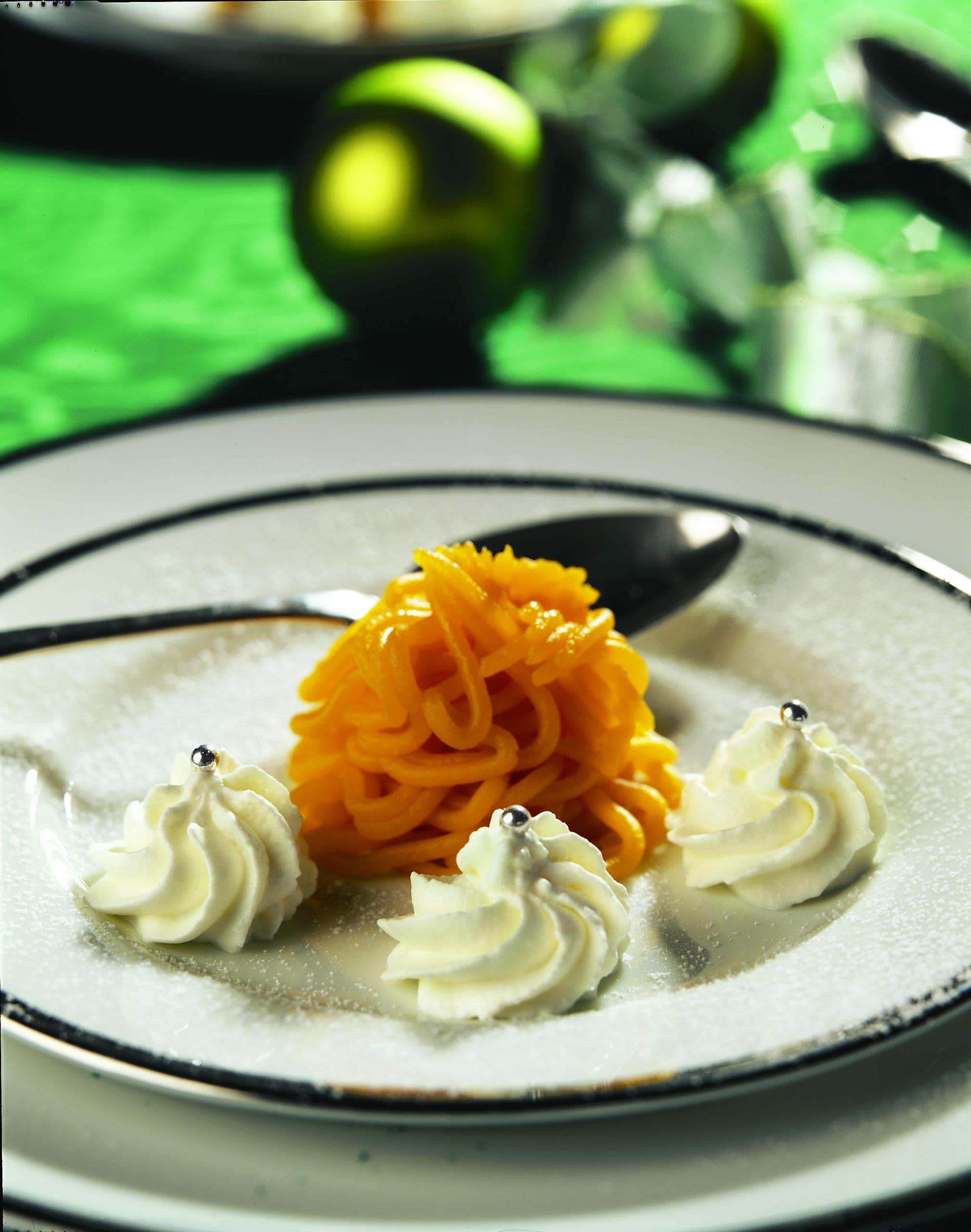 Vermicelles de potimarron à la crème vanillée