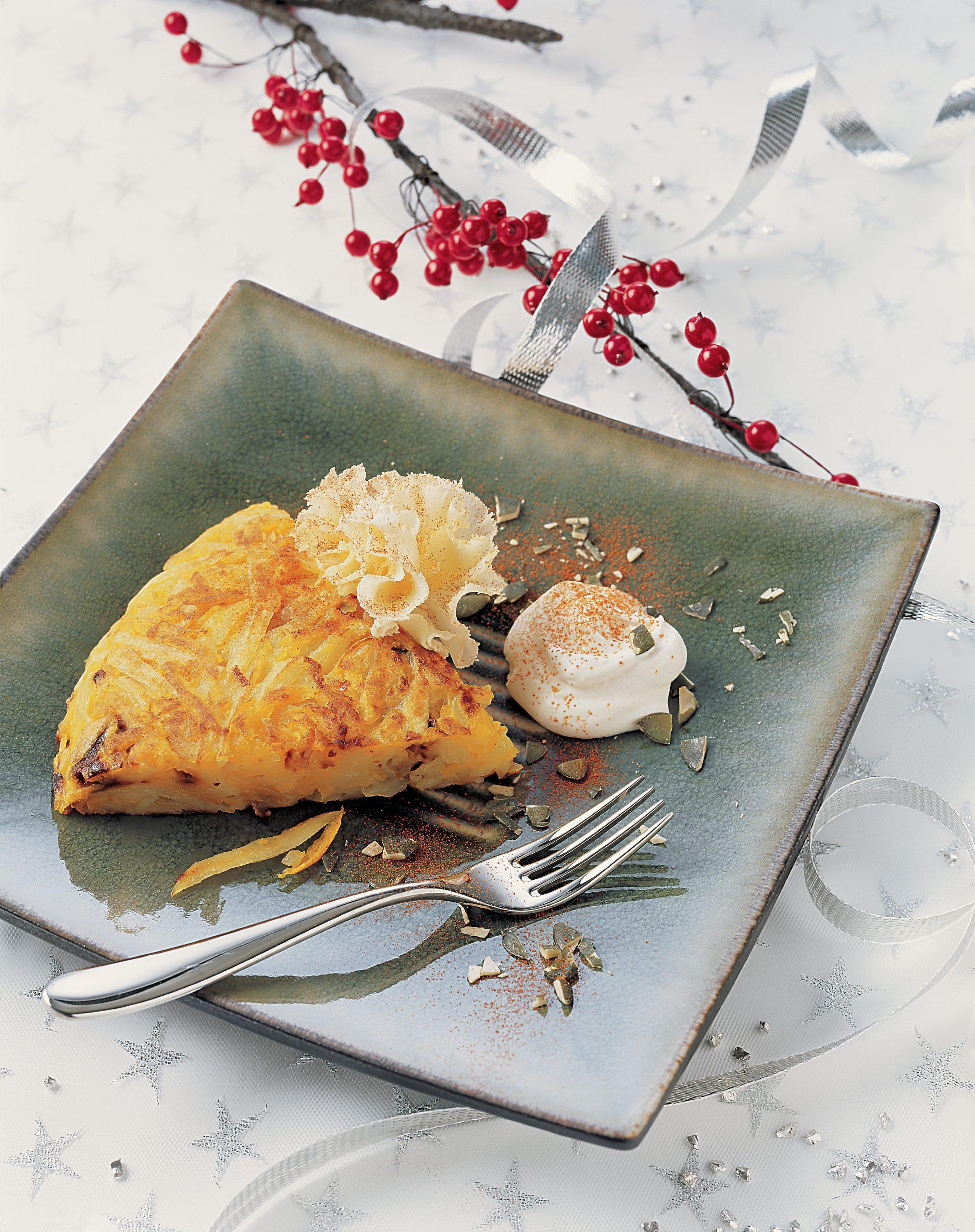 Kürbisrösti-Kuchen mit Ricotta-Rahm
