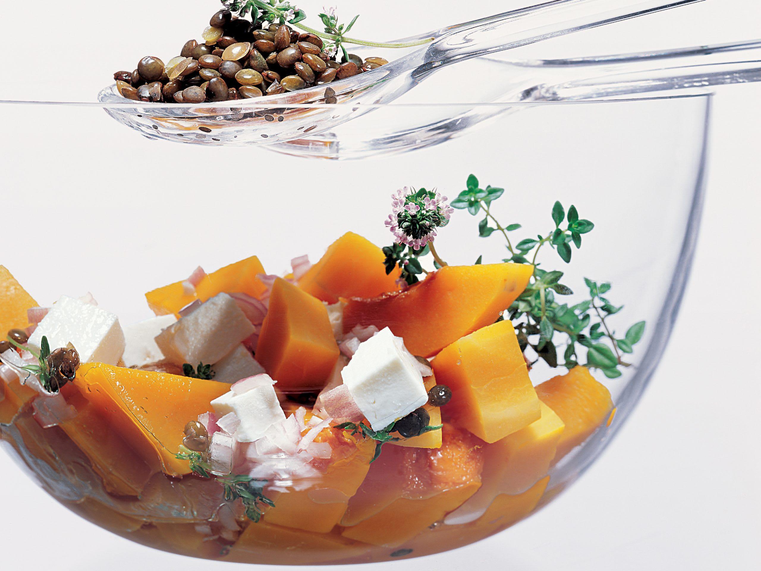 Salade de courge vinaigrette aux lentilles
