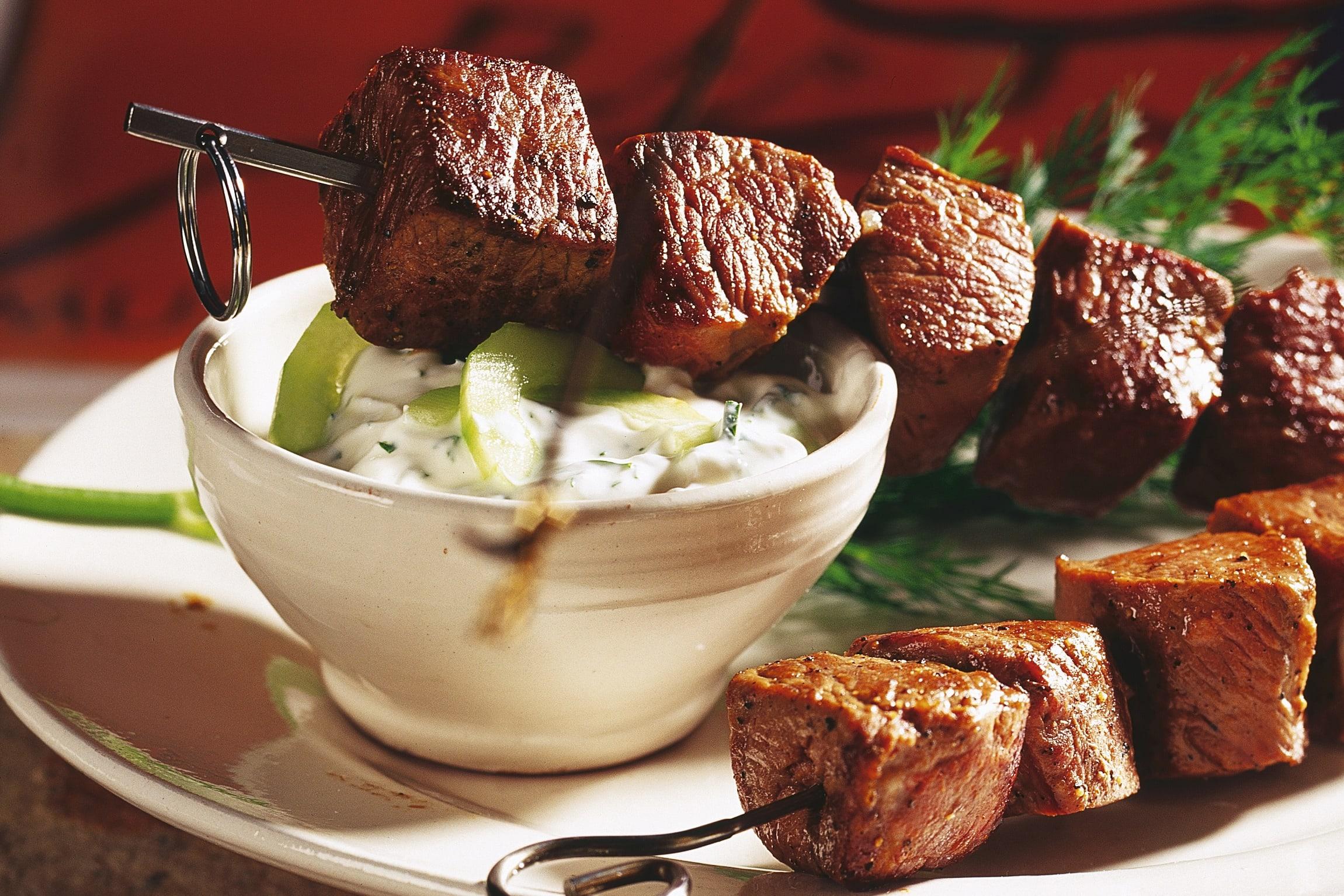Brochettes d'agneau et tzatziki