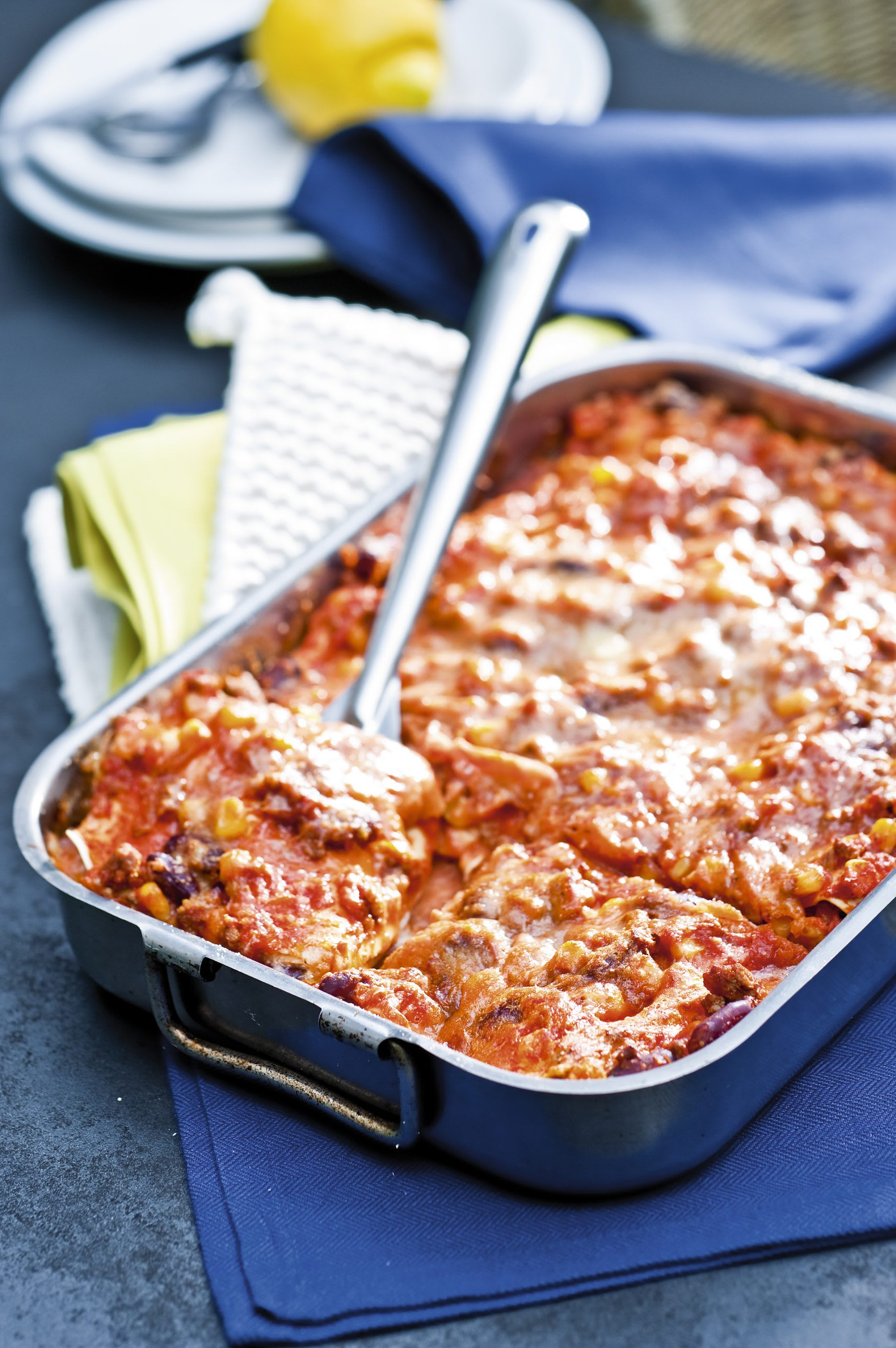 Lasagne à la viande hachée, au maïs et aux haricots rouges
