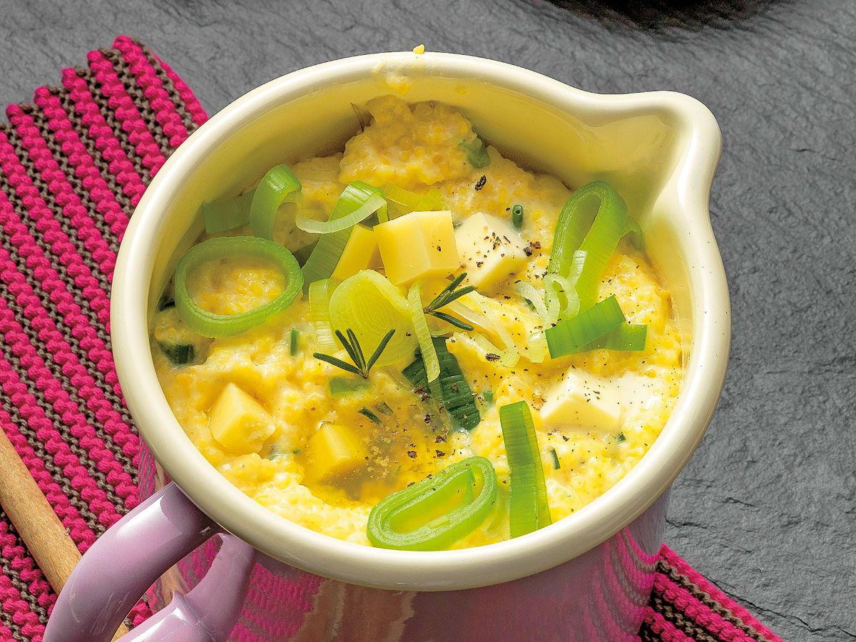 Polenta aux poireaux et aux trois fromages
